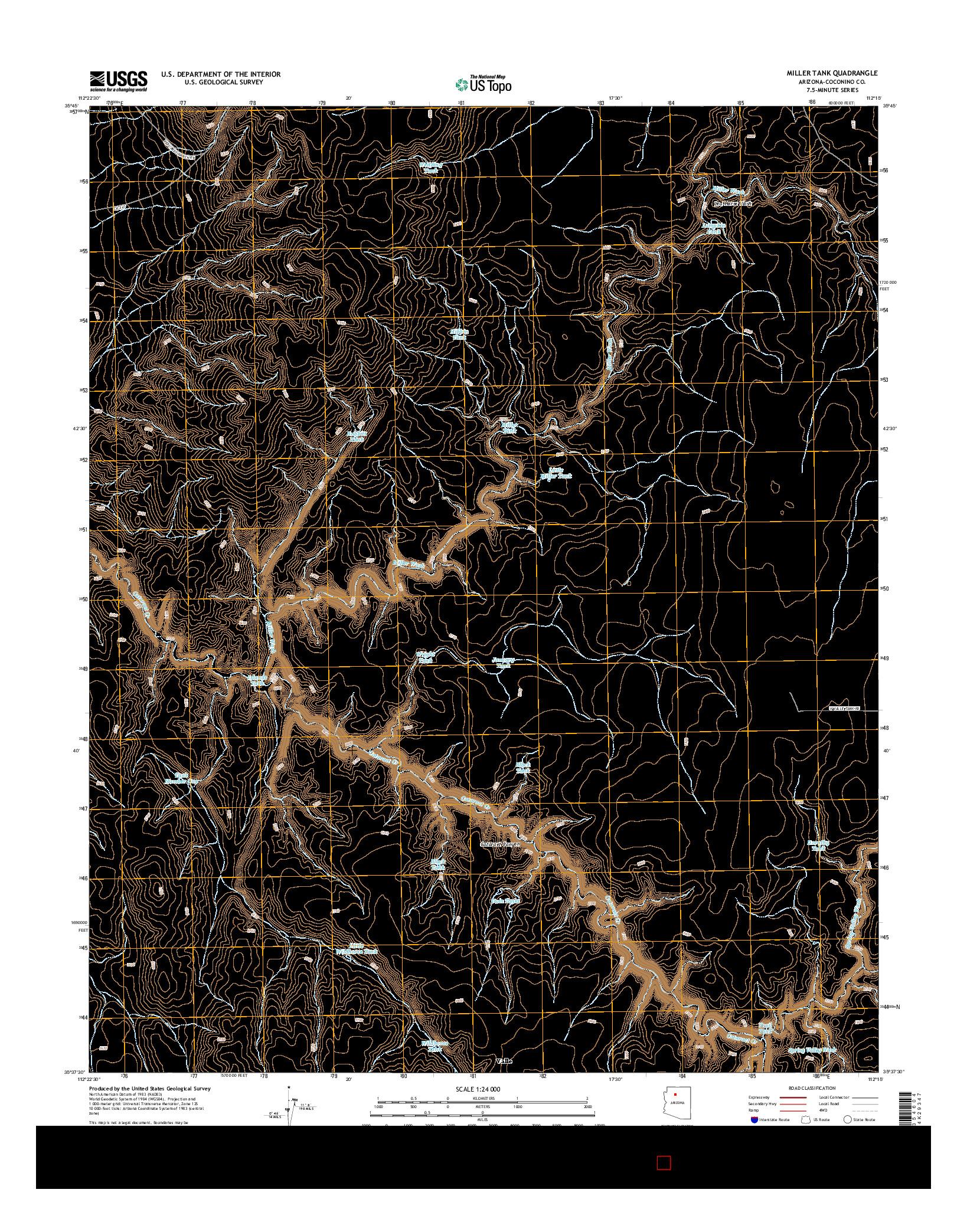 USGS US TOPO 7.5-MINUTE MAP FOR MILLER TANK, AZ 2014