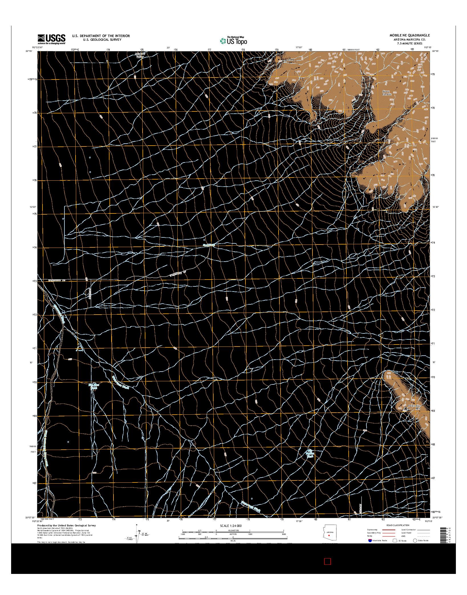 USGS US TOPO 7.5-MINUTE MAP FOR MOBILE NE, AZ 2014