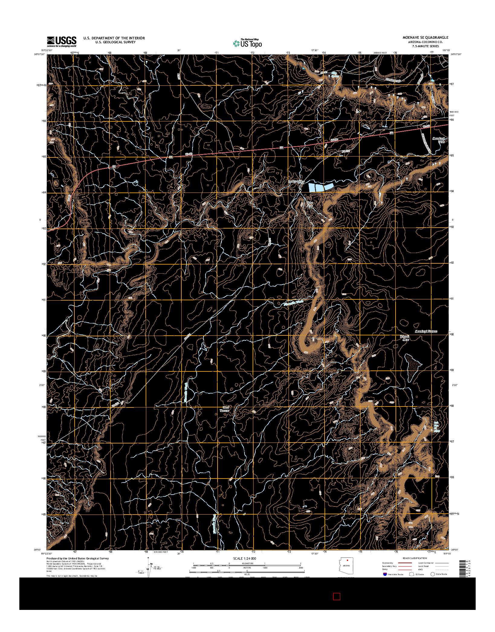 USGS US TOPO 7.5-MINUTE MAP FOR MOENAVE SE, AZ 2014