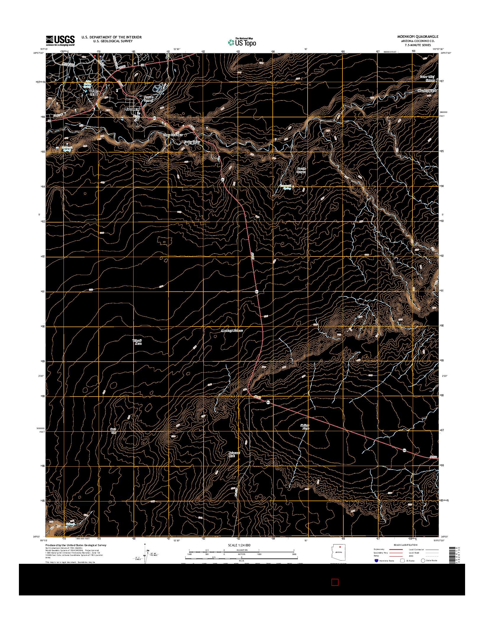 USGS US TOPO 7.5-MINUTE MAP FOR MOENKOPI, AZ 2014