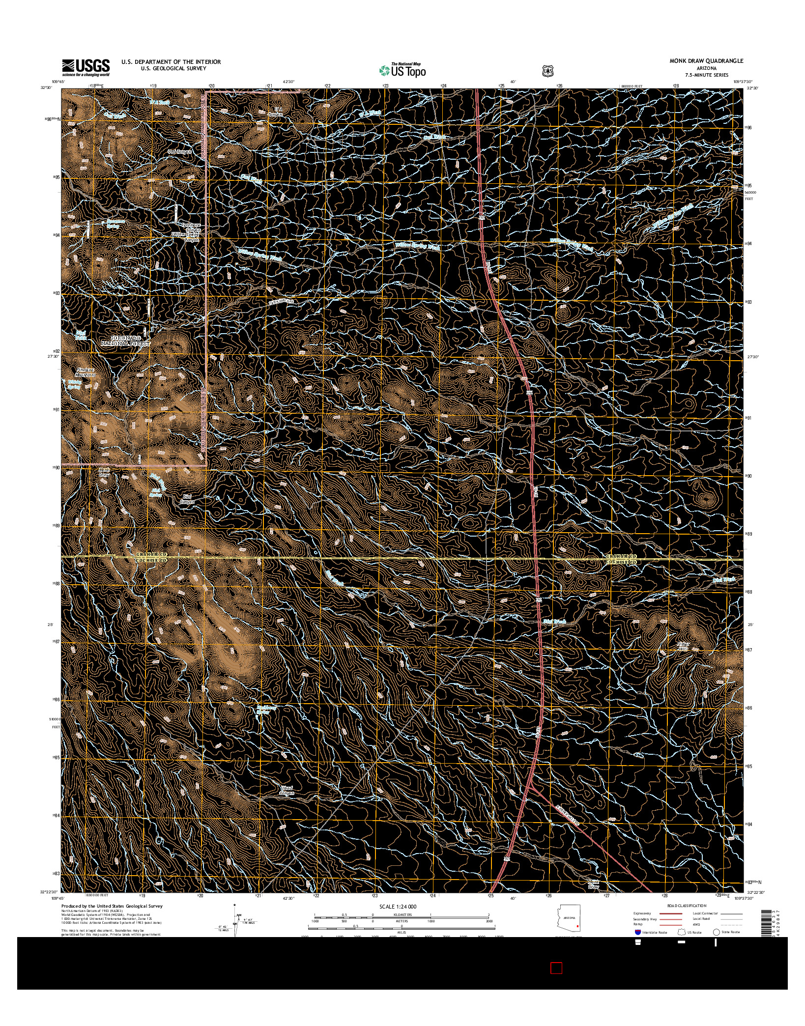 USGS US TOPO 7.5-MINUTE MAP FOR MONK DRAW, AZ 2014