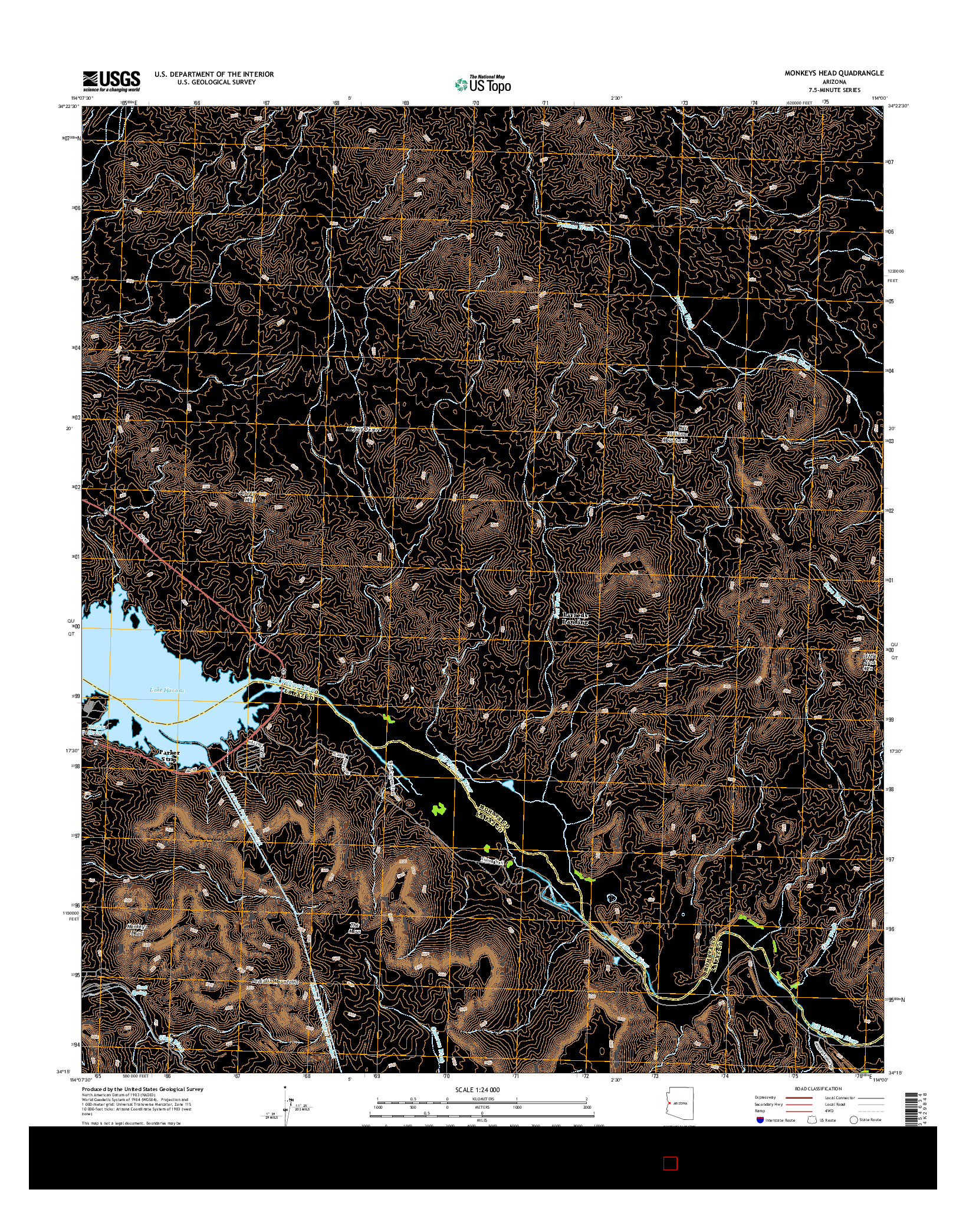USGS US TOPO 7.5-MINUTE MAP FOR MONKEYS HEAD, AZ 2014