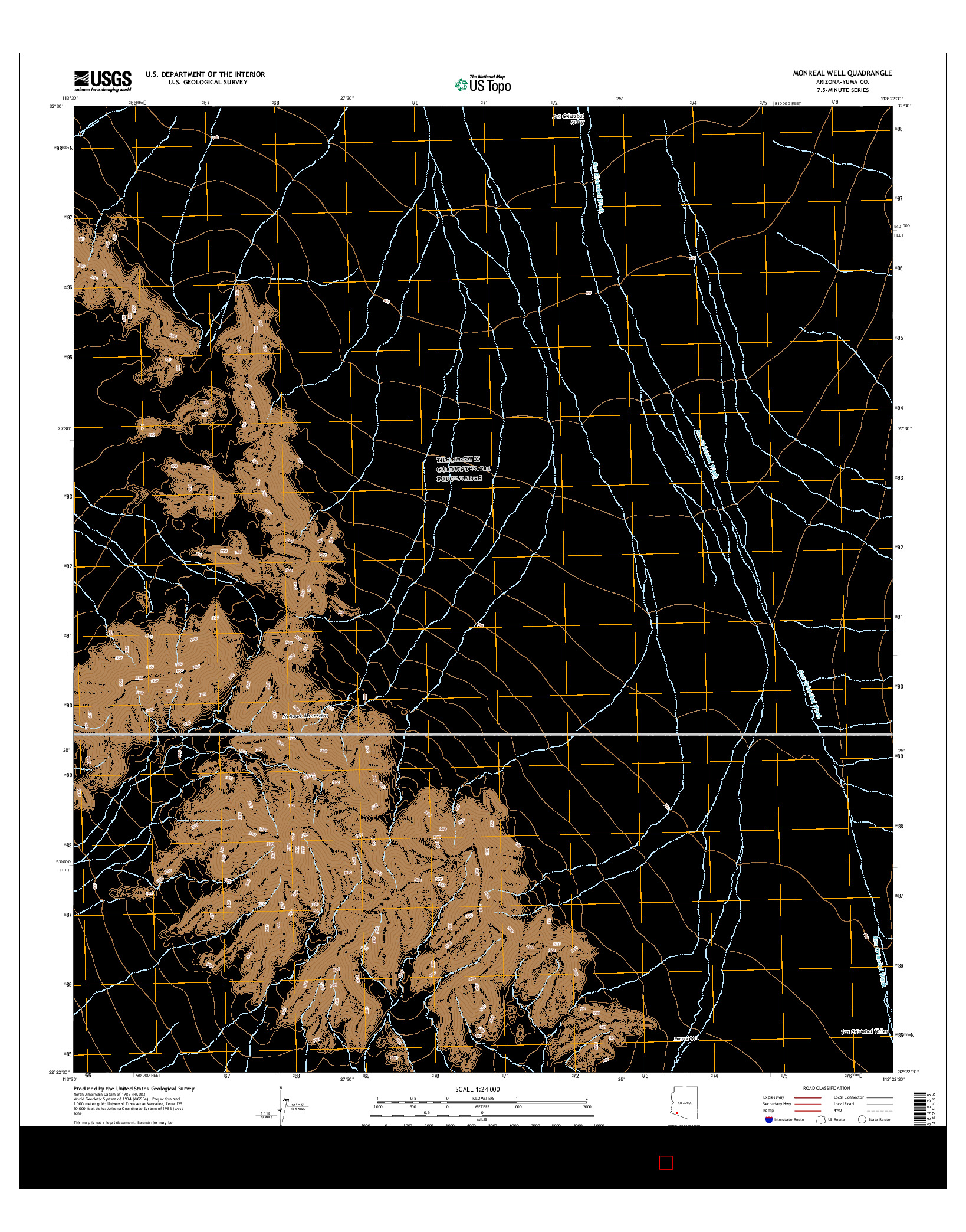 USGS US TOPO 7.5-MINUTE MAP FOR MONREAL WELL, AZ 2014