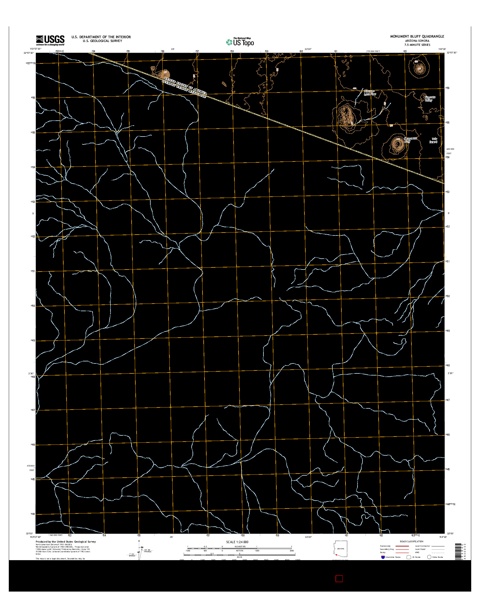 USGS US TOPO 7.5-MINUTE MAP FOR MONUMENT BLUFF, AZ-SON 2014