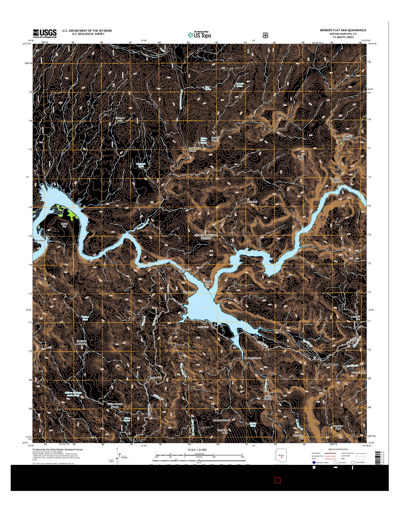 USGS US TOPO 7.5-MINUTE MAP FOR MORMON FLAT DAM, AZ 2014