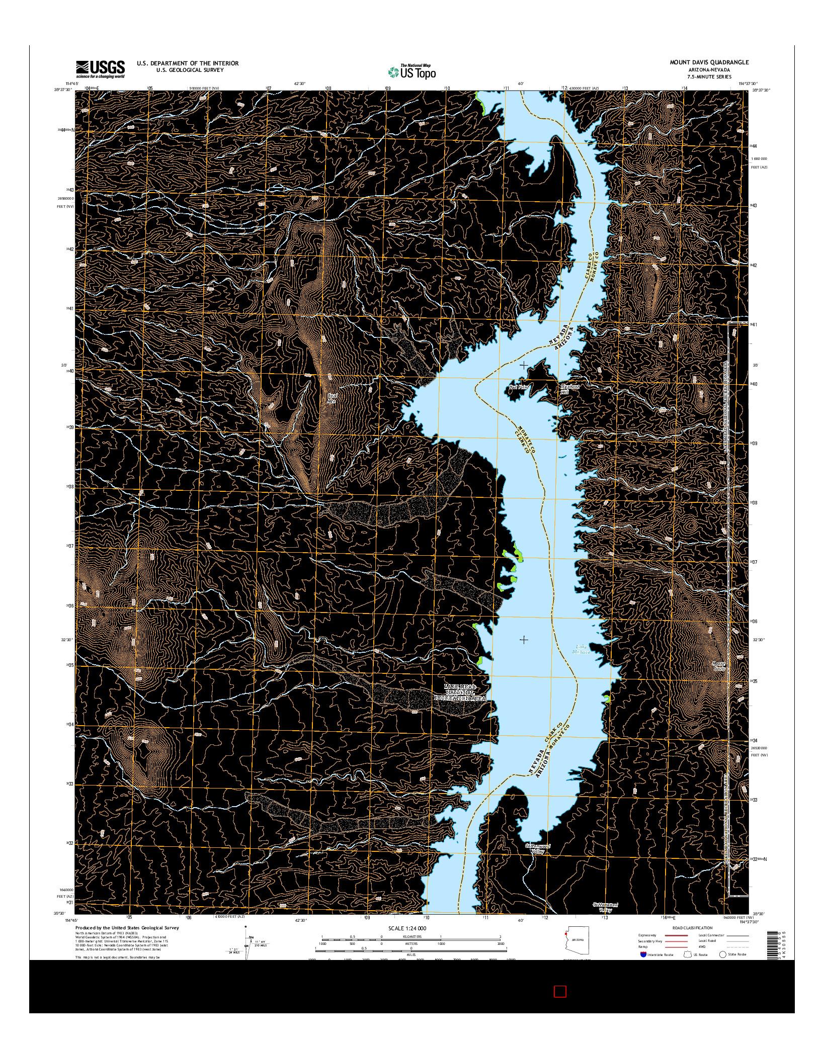 USGS US TOPO 7.5-MINUTE MAP FOR MOUNT DAVIS, AZ-NV 2014