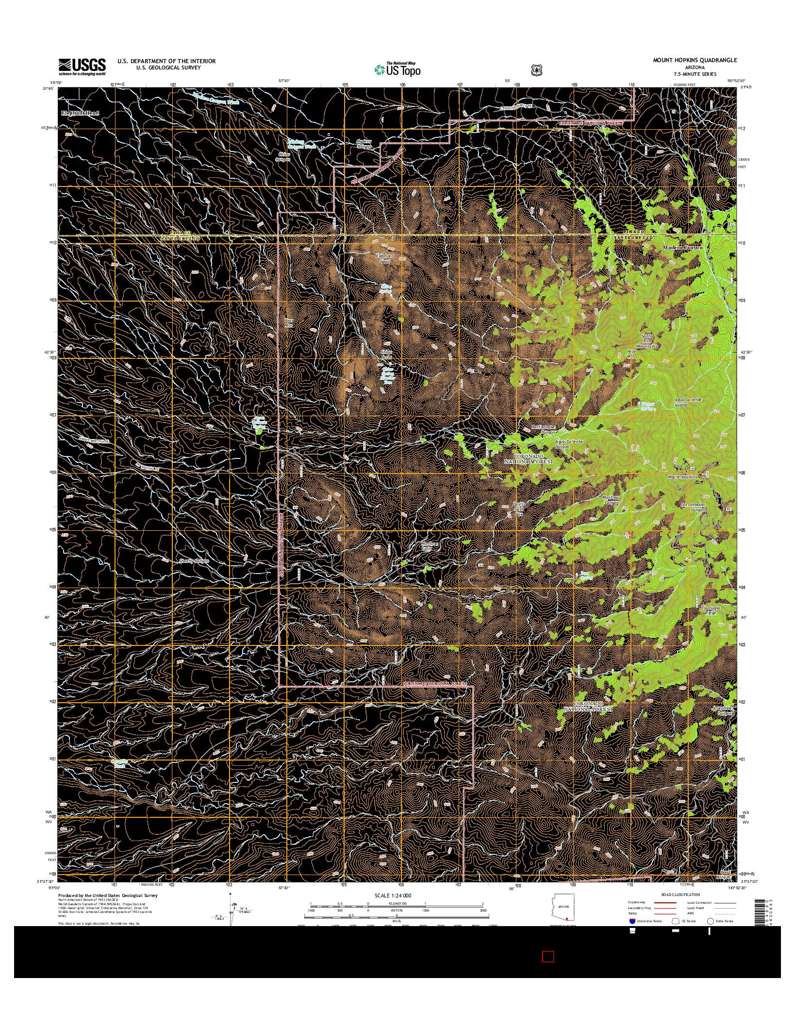 USGS US TOPO 7.5-MINUTE MAP FOR MOUNT HOPKINS, AZ 2014