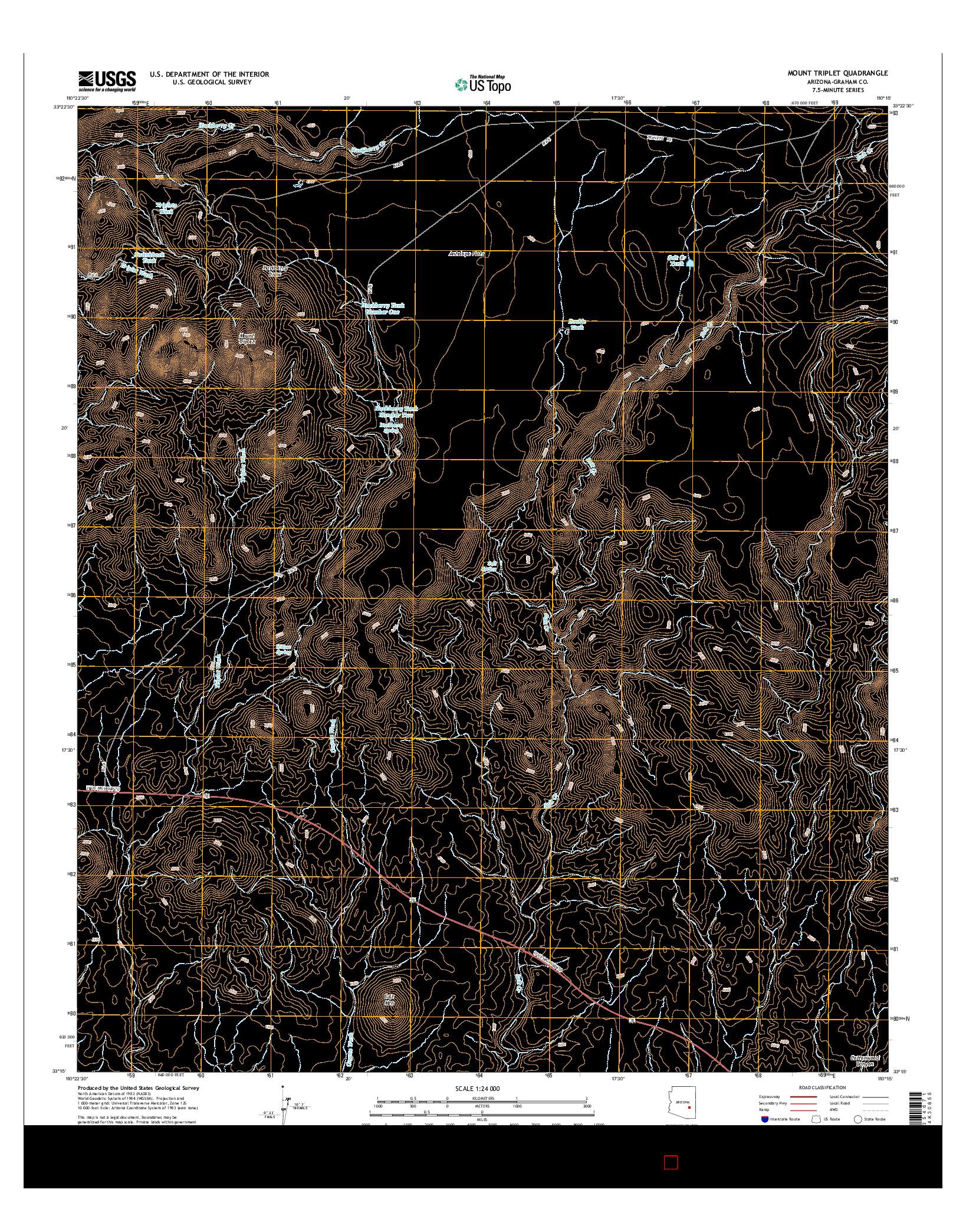 USGS US TOPO 7.5-MINUTE MAP FOR MOUNT TRIPLET, AZ 2014
