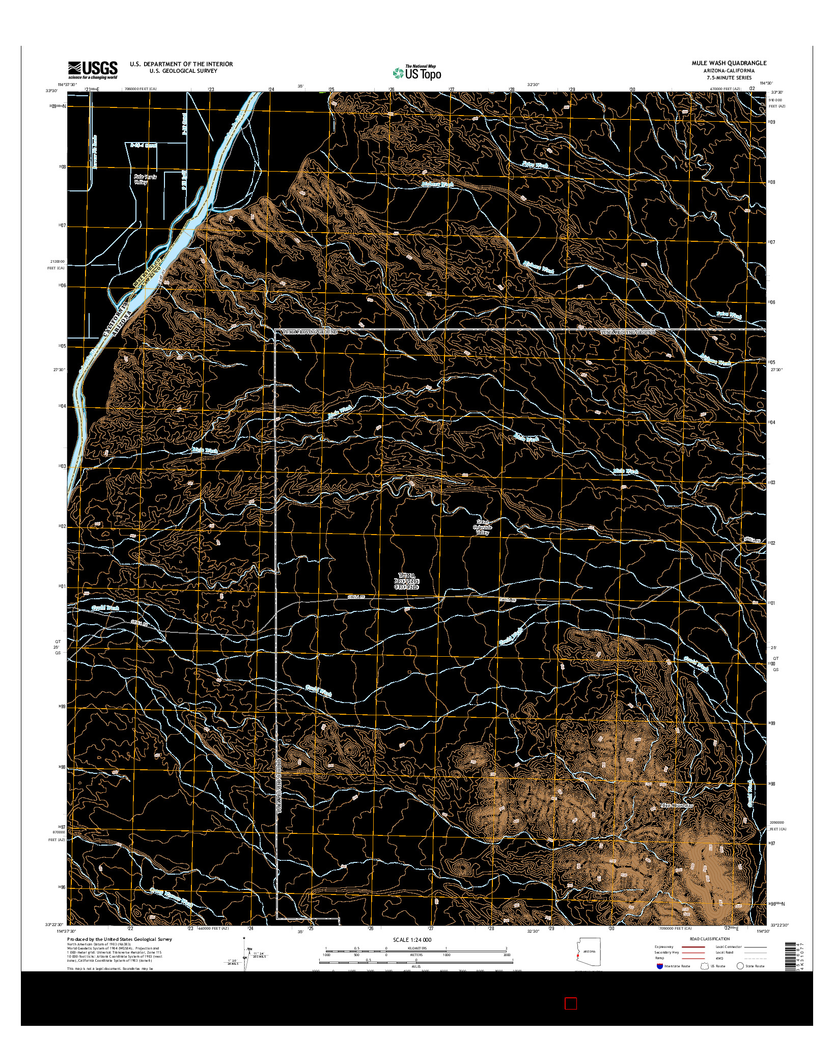 USGS US TOPO 7.5-MINUTE MAP FOR MULE WASH, AZ-CA 2014