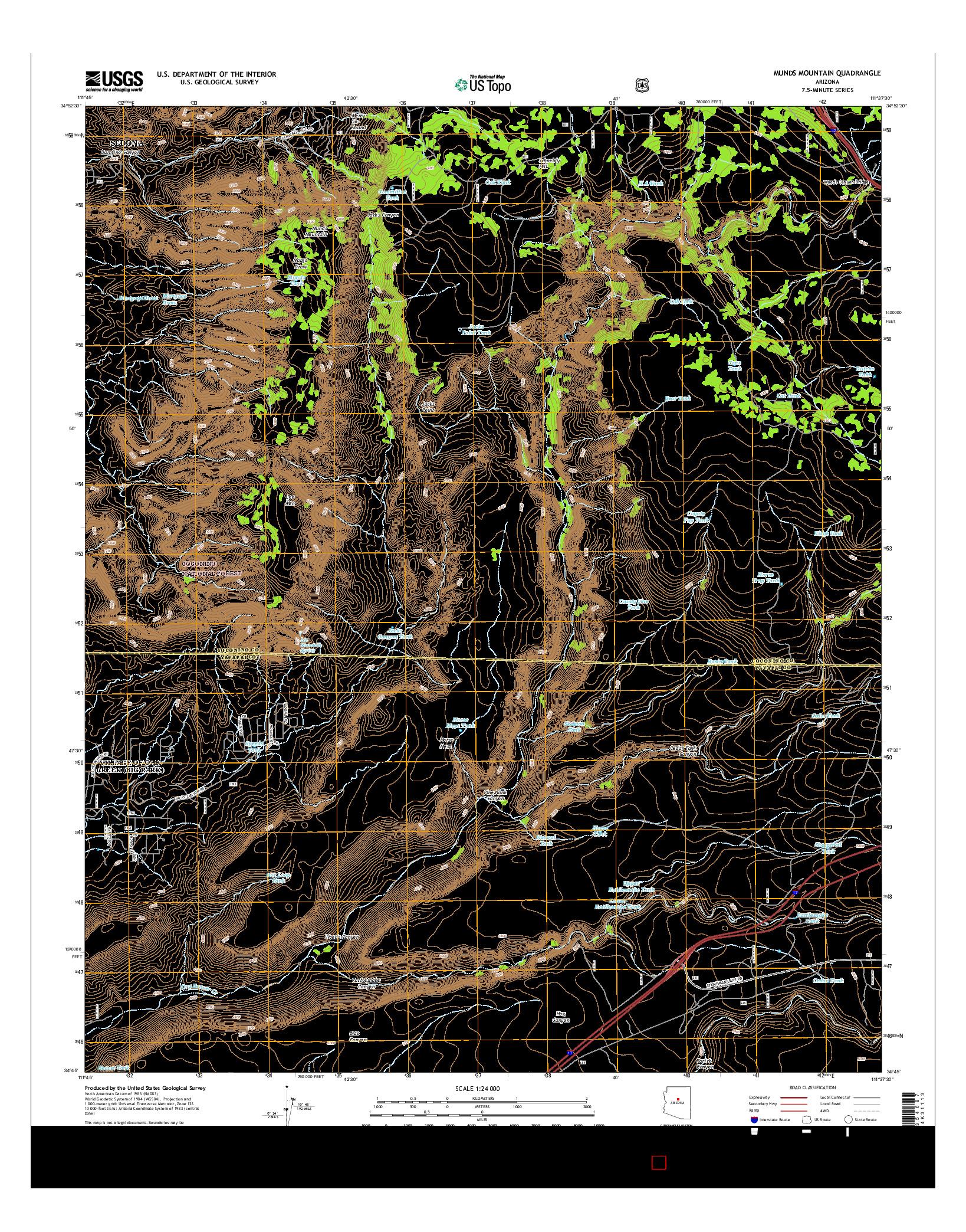 USGS US TOPO 7.5-MINUTE MAP FOR MUNDS MOUNTAIN, AZ 2014