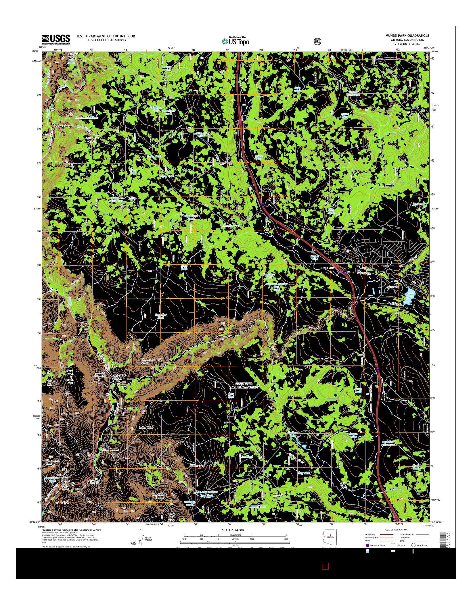 USGS US TOPO 7.5-MINUTE MAP FOR MUNDS PARK, AZ 2014