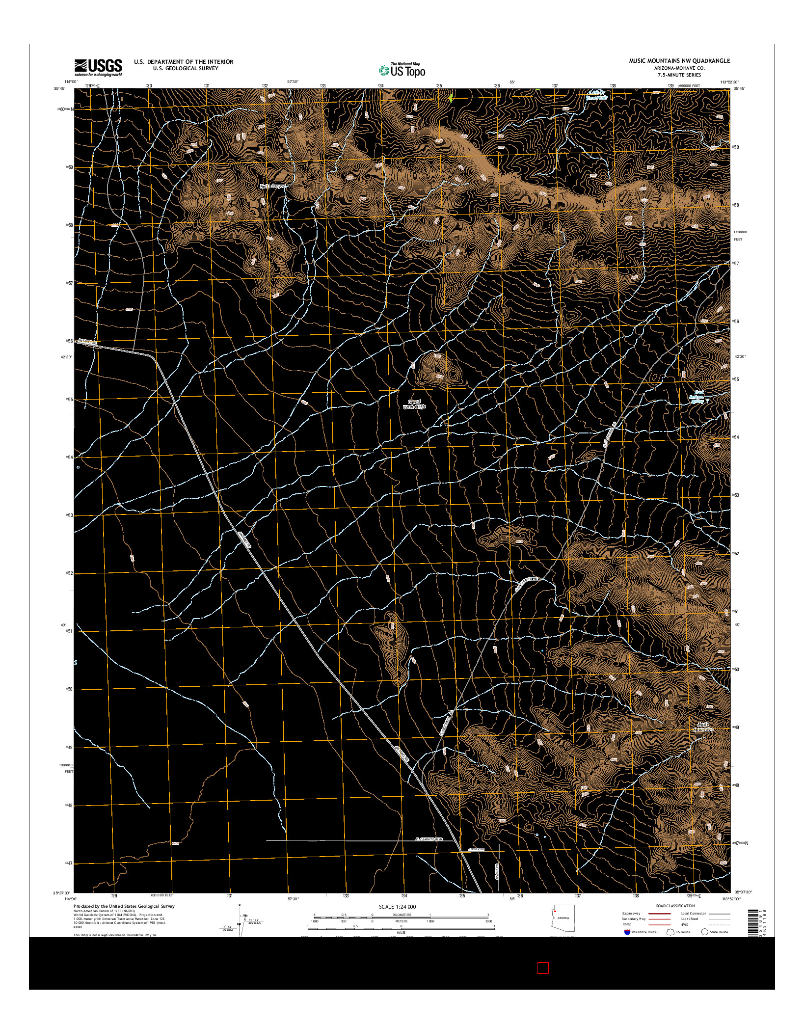 USGS US TOPO 7.5-MINUTE MAP FOR MUSIC MOUNTAINS NW, AZ 2014