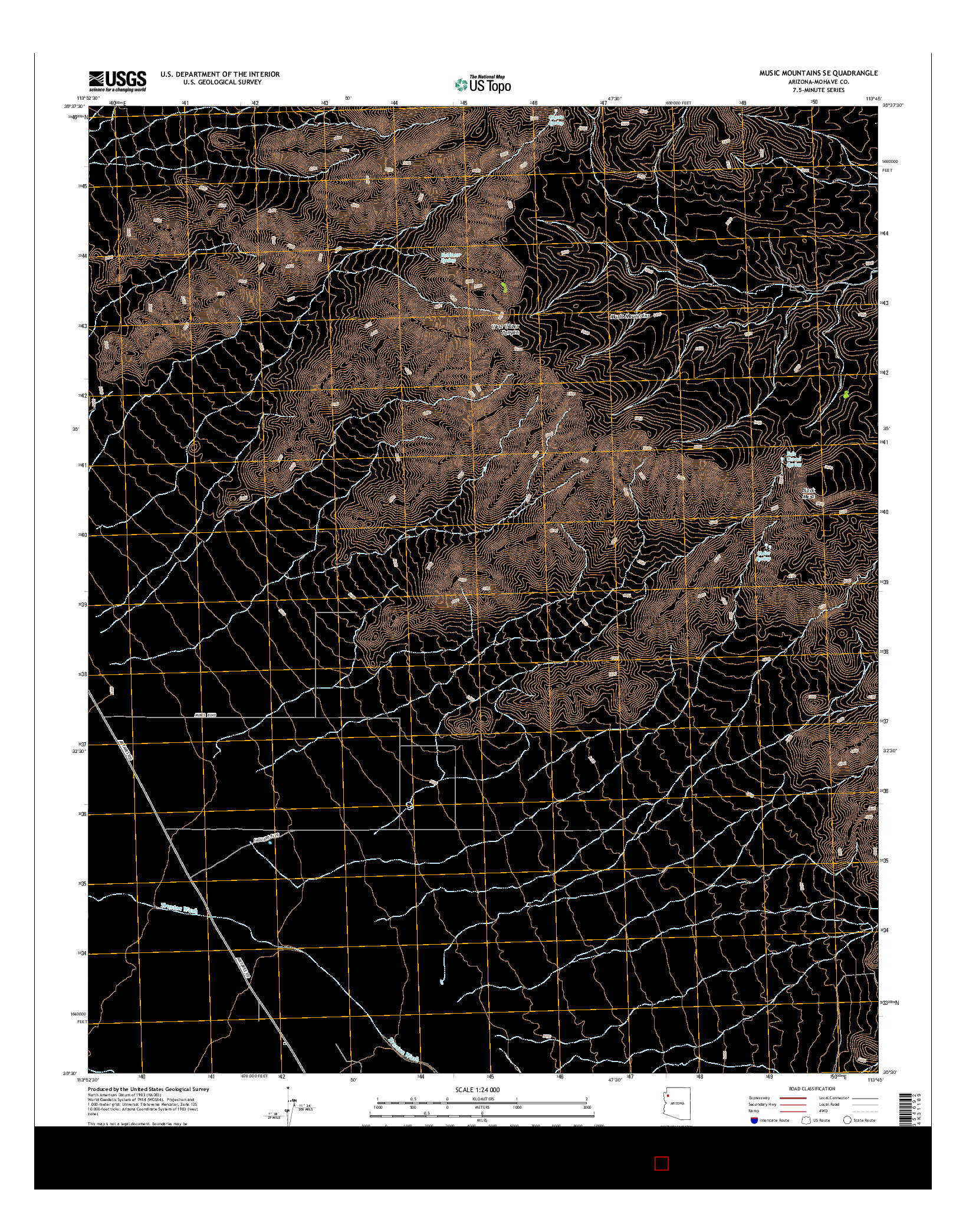 USGS US TOPO 7.5-MINUTE MAP FOR MUSIC MOUNTAINS SE, AZ 2014