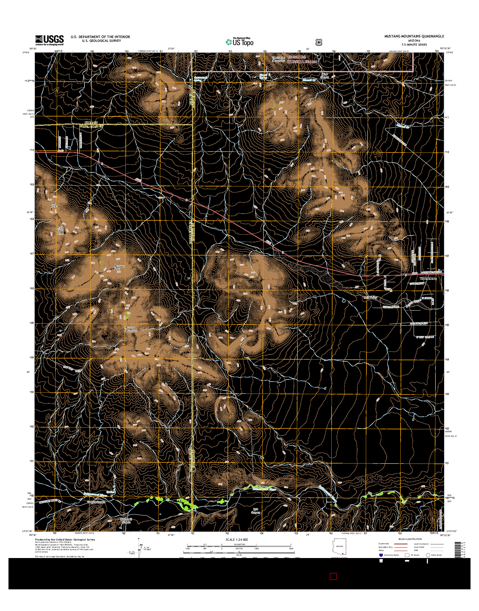 USGS US TOPO 7.5-MINUTE MAP FOR MUSTANG MOUNTAINS, AZ 2014