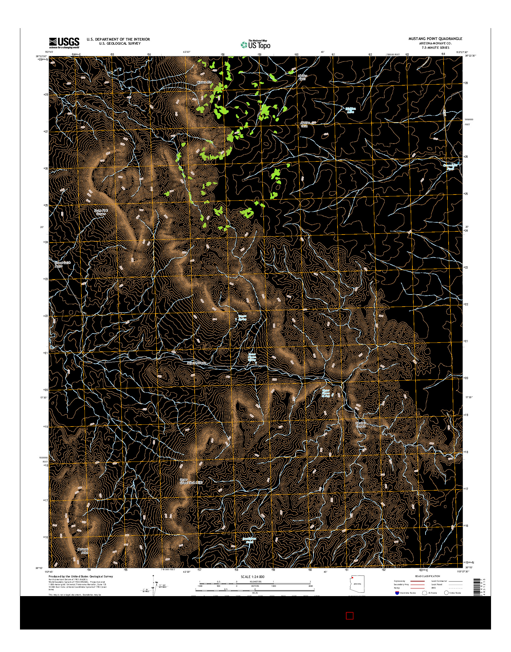 USGS US TOPO 7.5-MINUTE MAP FOR MUSTANG POINT, AZ 2014