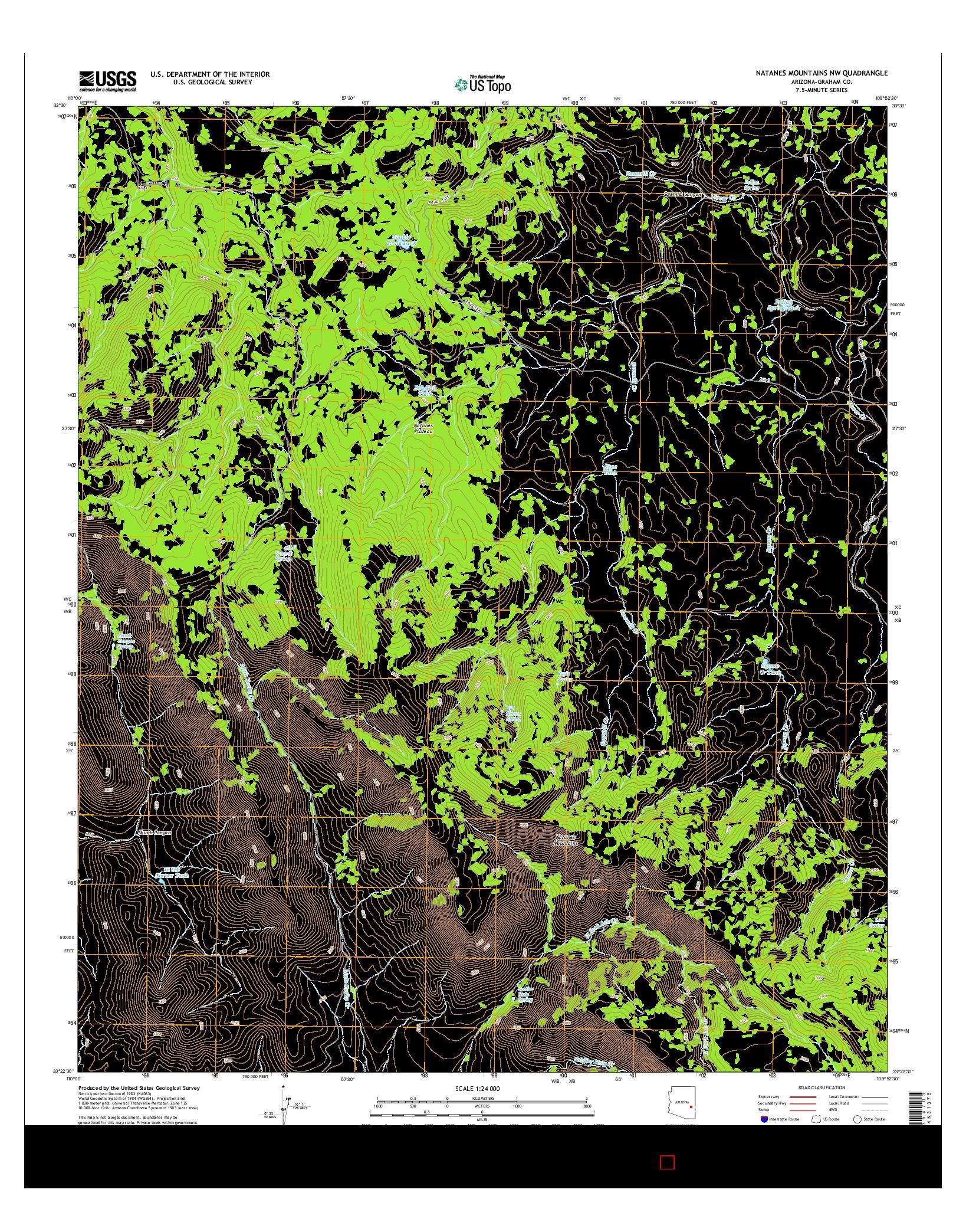 USGS US TOPO 7.5-MINUTE MAP FOR NATANES MOUNTAINS NW, AZ 2014