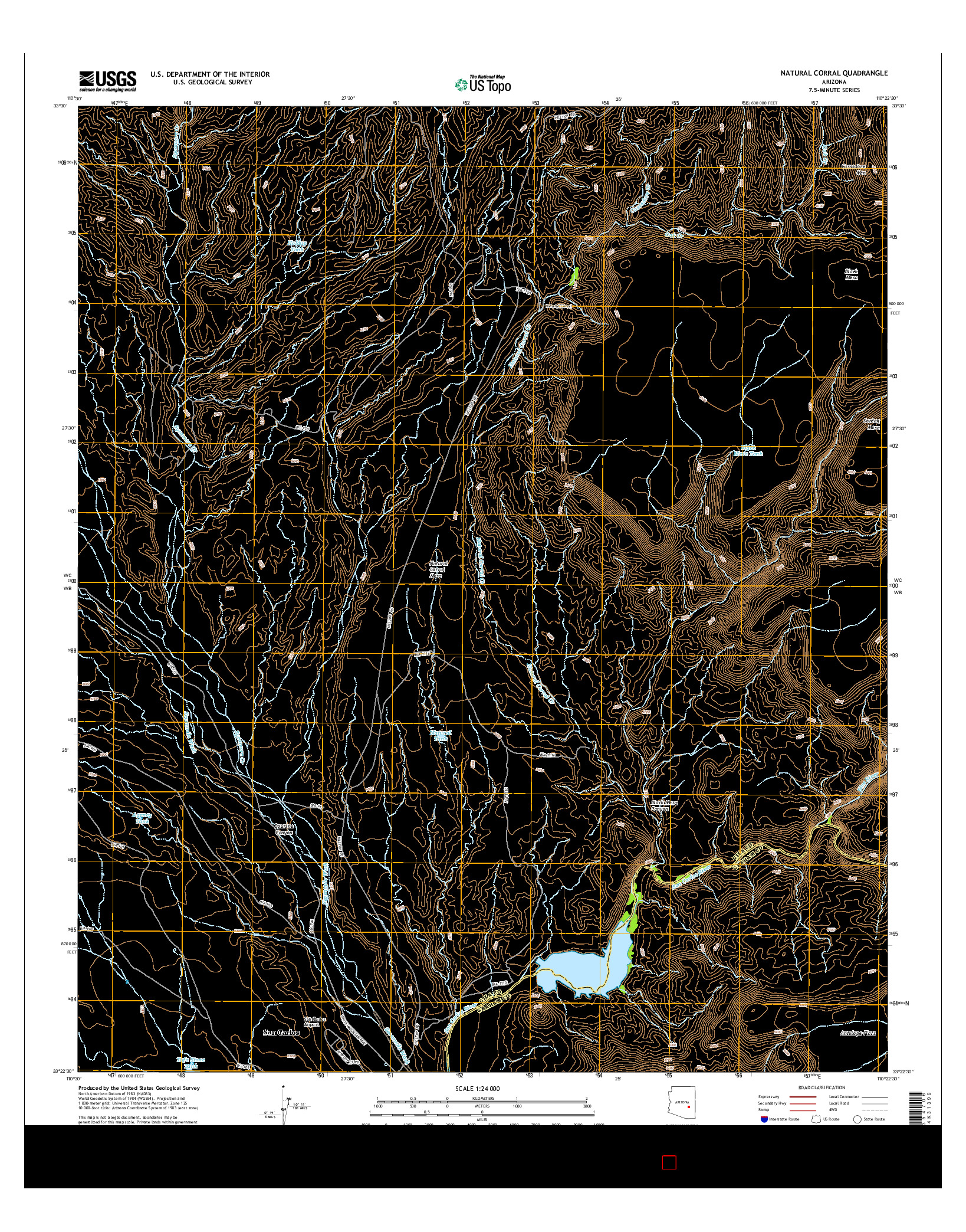USGS US TOPO 7.5-MINUTE MAP FOR NATURAL CORRAL, AZ 2014