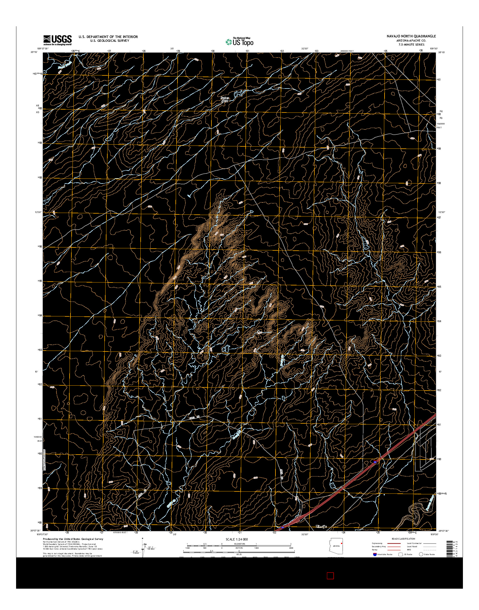 USGS US TOPO 7.5-MINUTE MAP FOR NAVAJO NORTH, AZ 2014