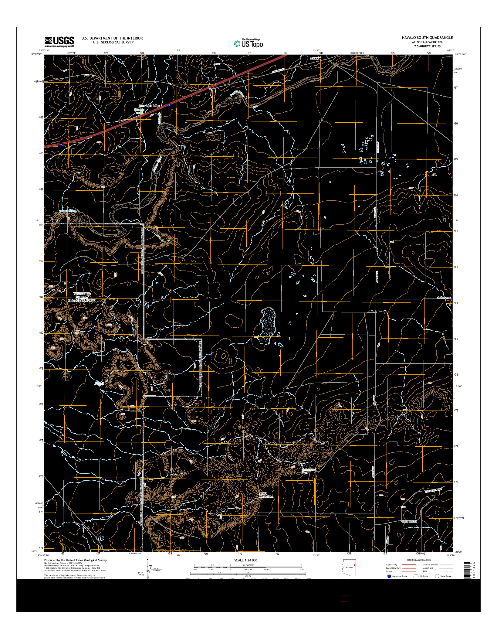 USGS US TOPO 7.5-MINUTE MAP FOR NAVAJO SOUTH, AZ 2014