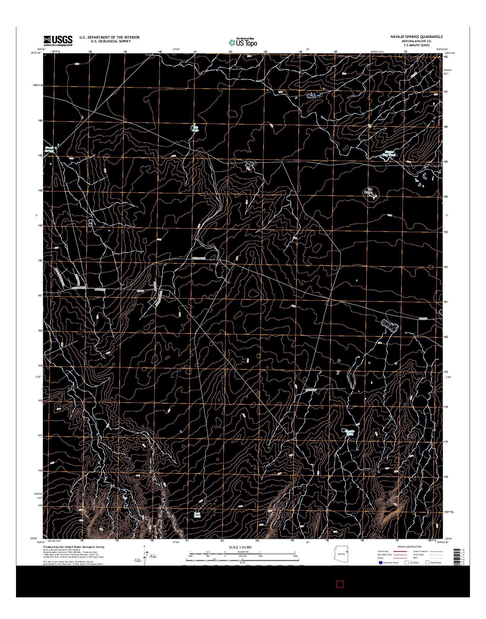 USGS US TOPO 7.5-MINUTE MAP FOR NAVAJO SPRINGS, AZ 2014