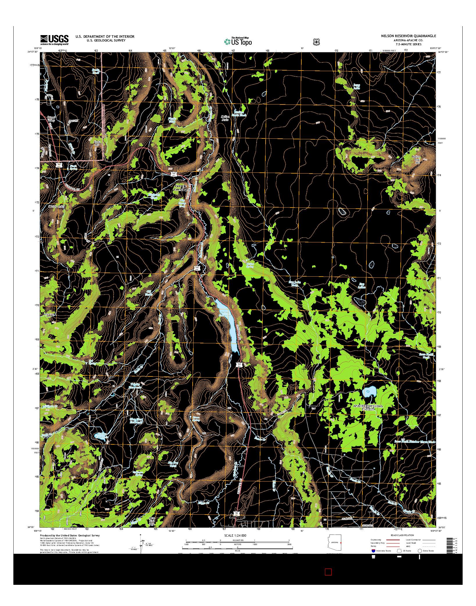 USGS US TOPO 7.5-MINUTE MAP FOR NELSON RESERVOIR, AZ 2014