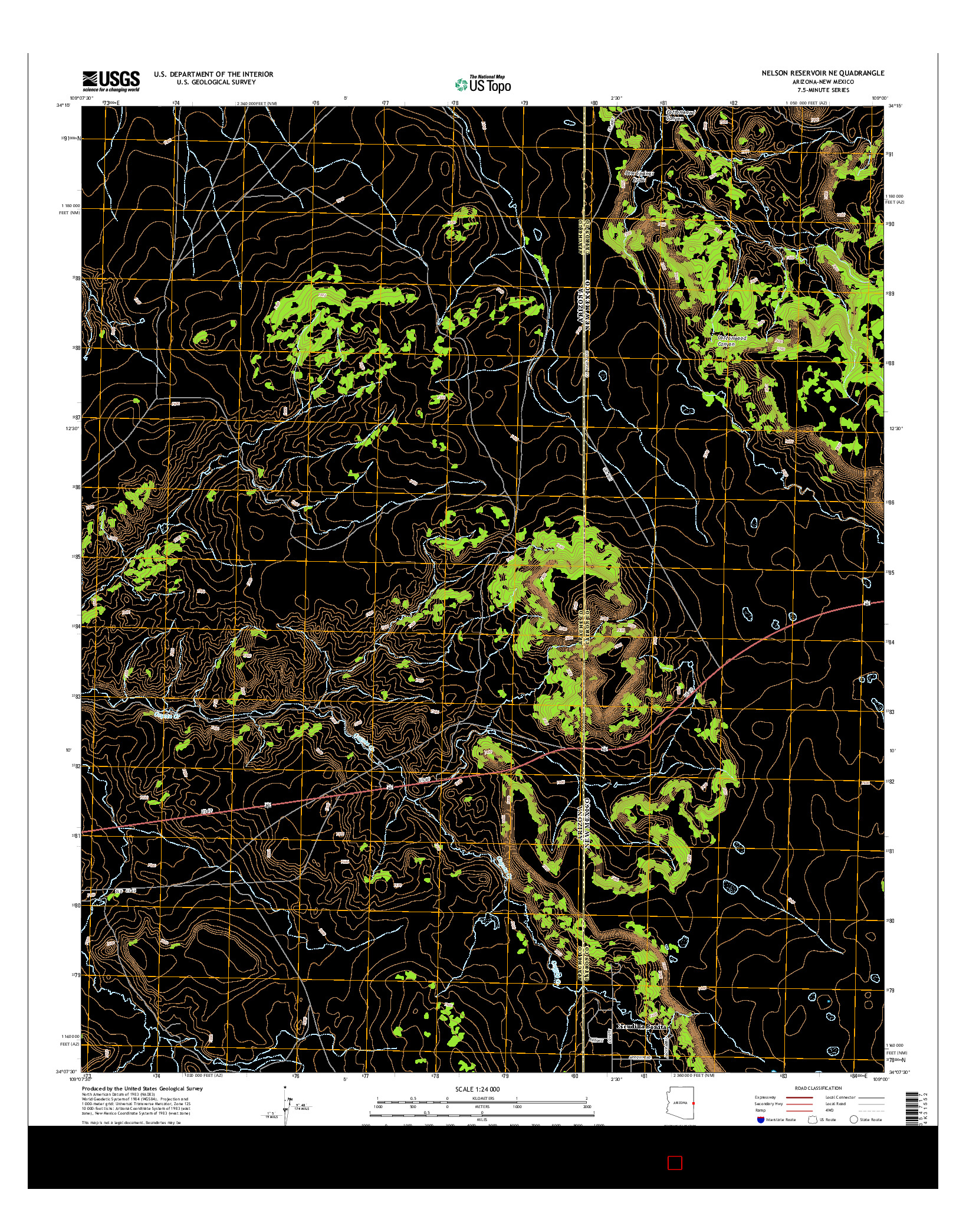 USGS US TOPO 7.5-MINUTE MAP FOR NELSON RESERVOIR NE, AZ-NM 2014