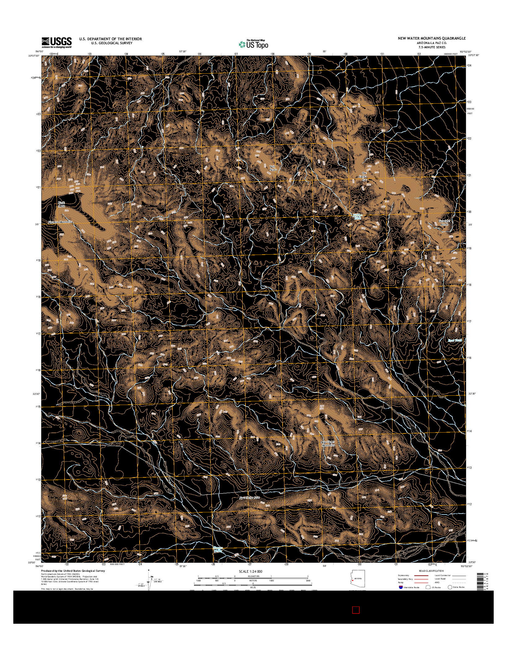 USGS US TOPO 7.5-MINUTE MAP FOR NEW WATER MOUNTAINS, AZ 2014