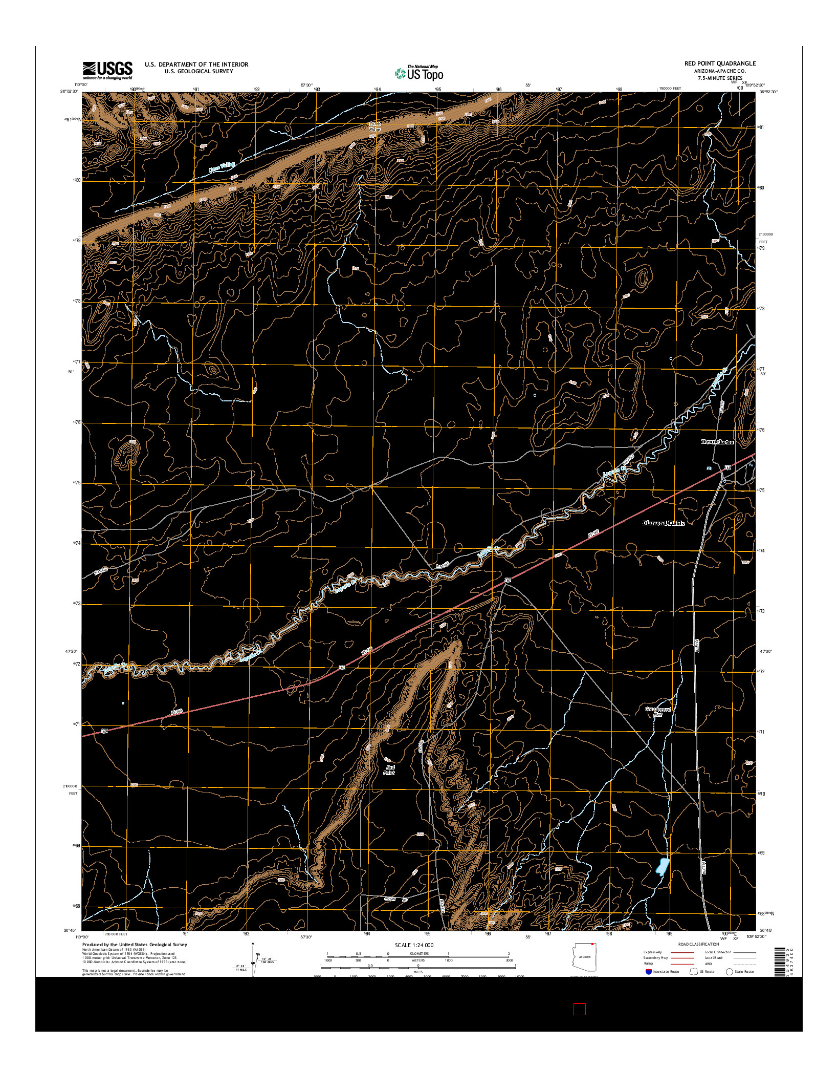 USGS US TOPO 7.5-MINUTE MAP FOR RED POINT, AZ 2014