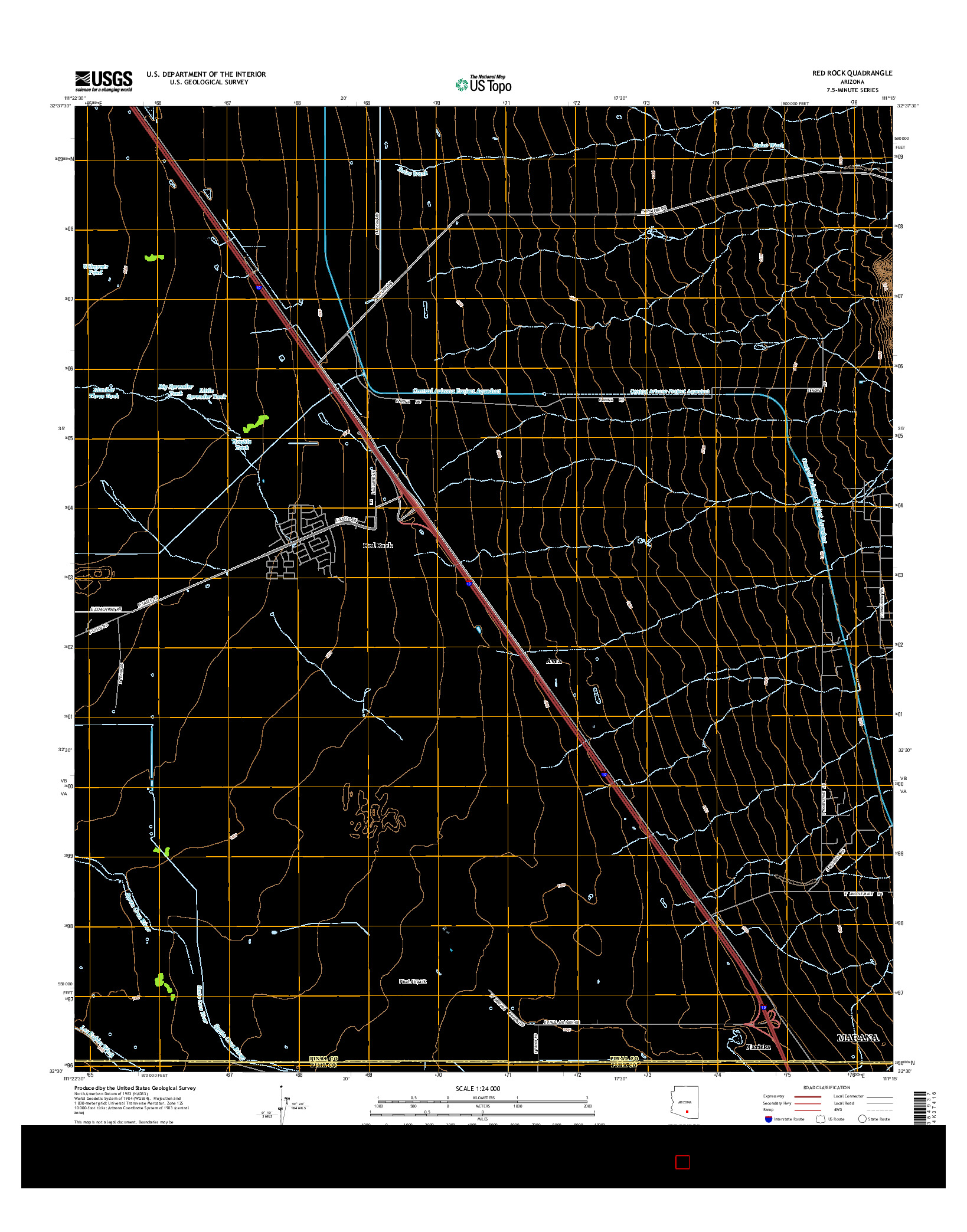 USGS US TOPO 7.5-MINUTE MAP FOR RED ROCK, AZ 2014