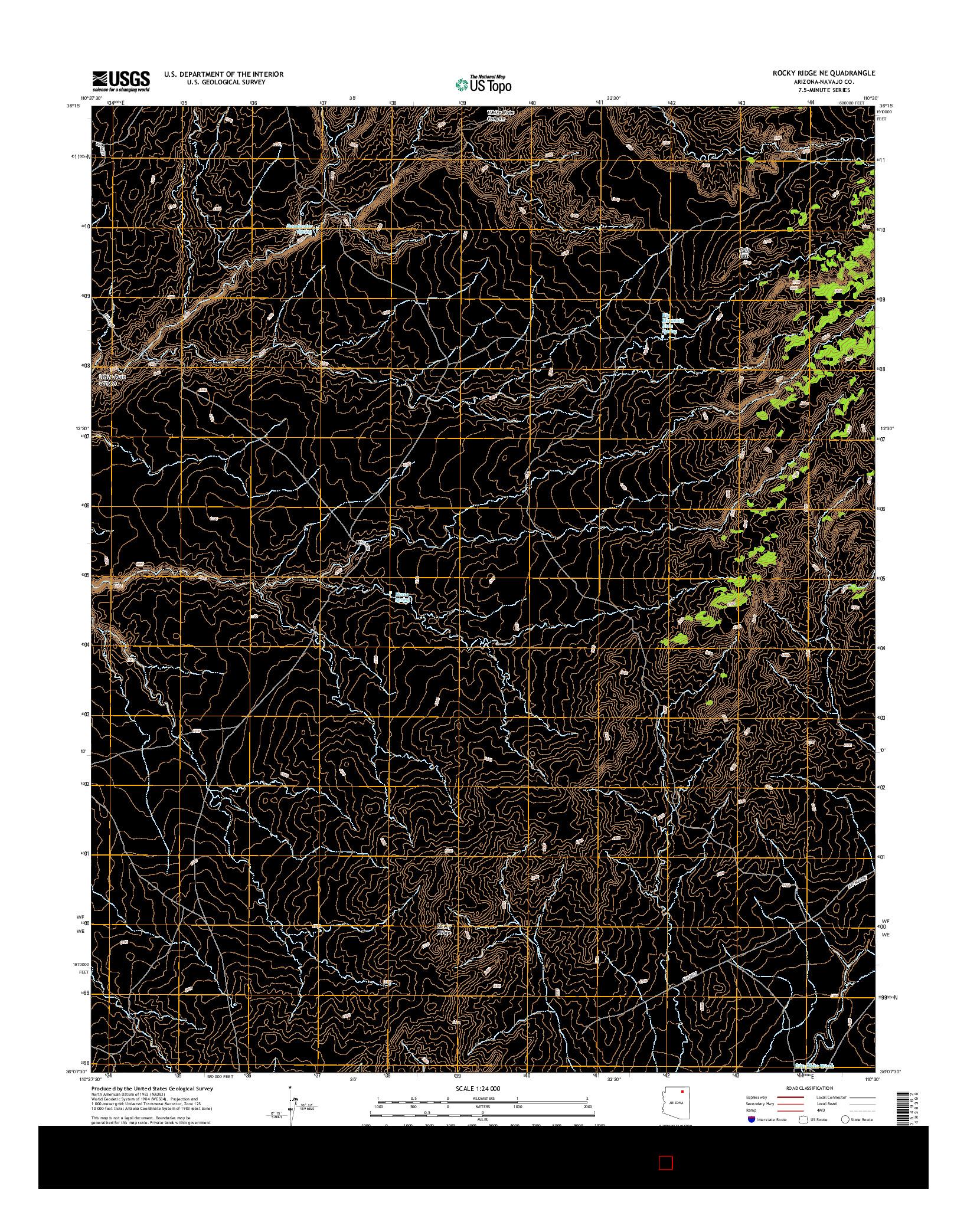 USGS US TOPO 7.5-MINUTE MAP FOR ROCKY RIDGE NE, AZ 2014