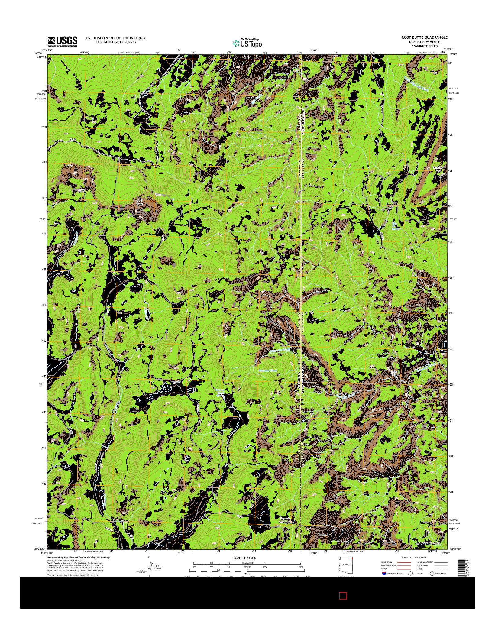USGS US TOPO 7.5-MINUTE MAP FOR ROOF BUTTE, AZ-NM 2014