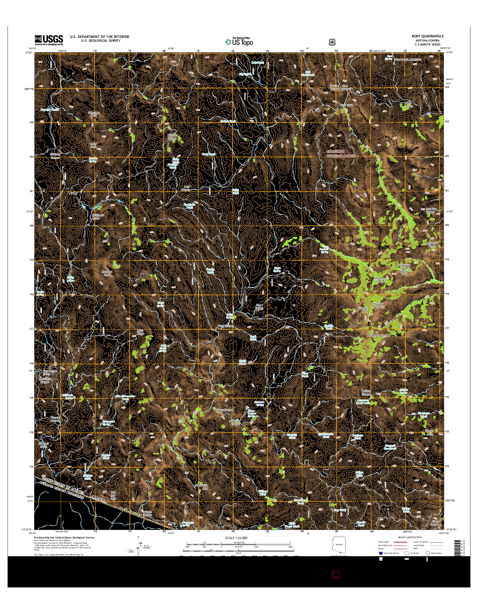 USGS US TOPO 7.5-MINUTE MAP FOR RUBY, AZ-SON 2014