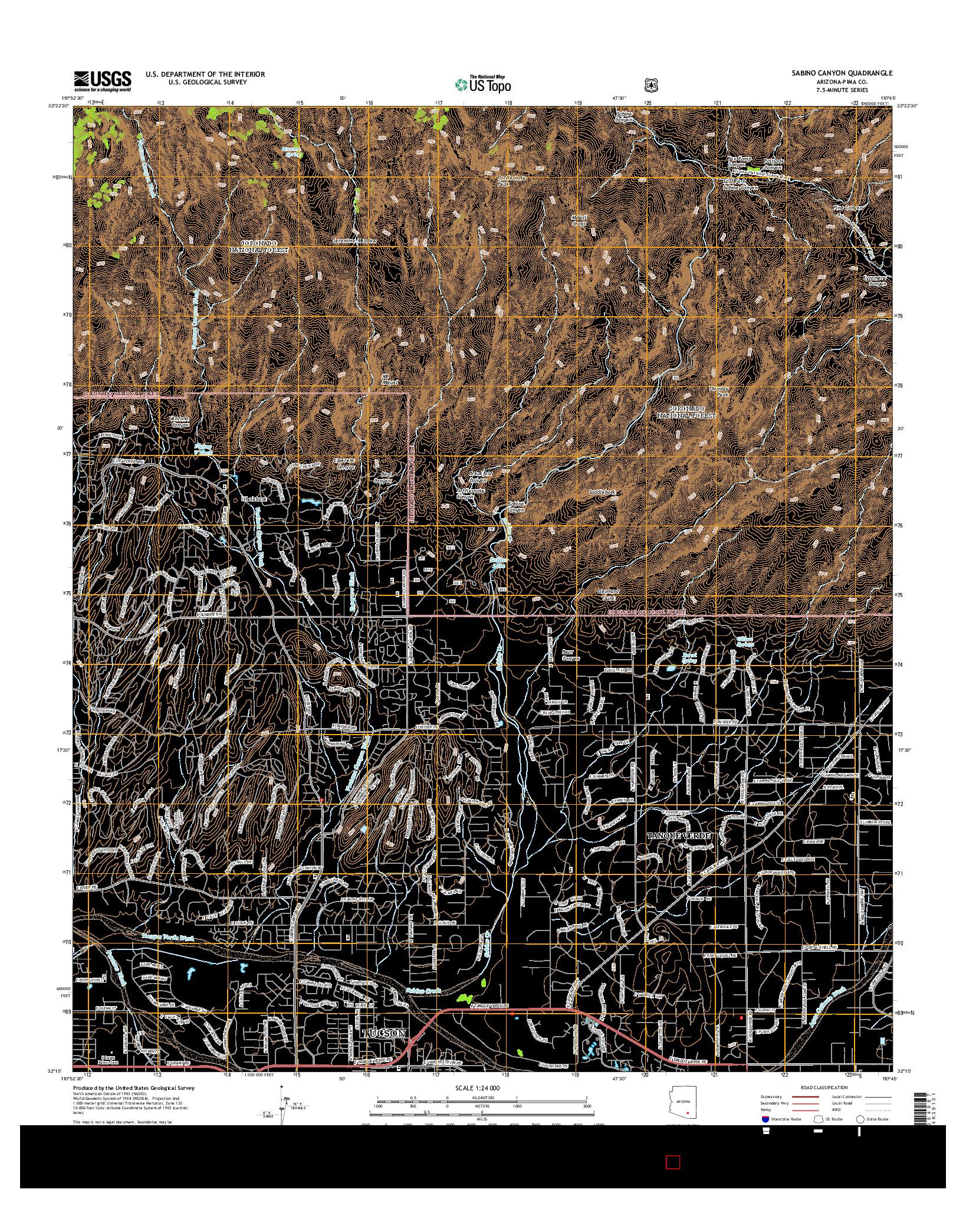 USGS US TOPO 7.5-MINUTE MAP FOR SABINO CANYON, AZ 2014