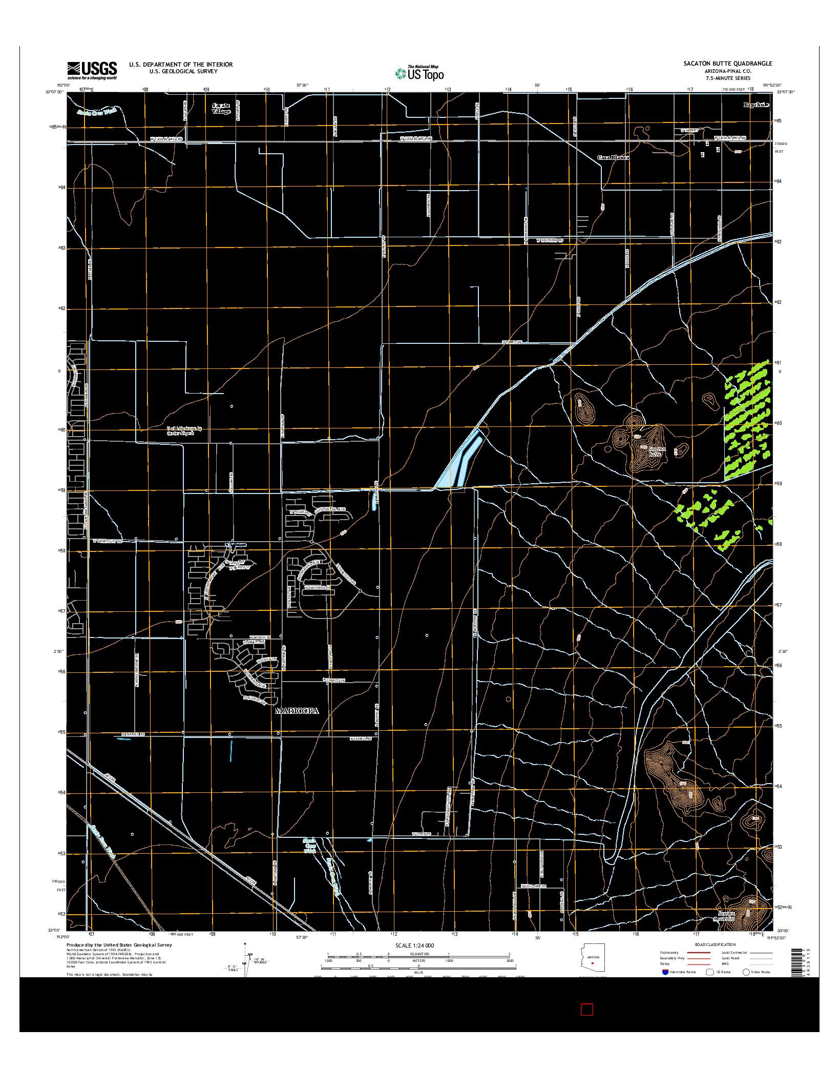 USGS US TOPO 7.5-MINUTE MAP FOR SACATON BUTTE, AZ 2014