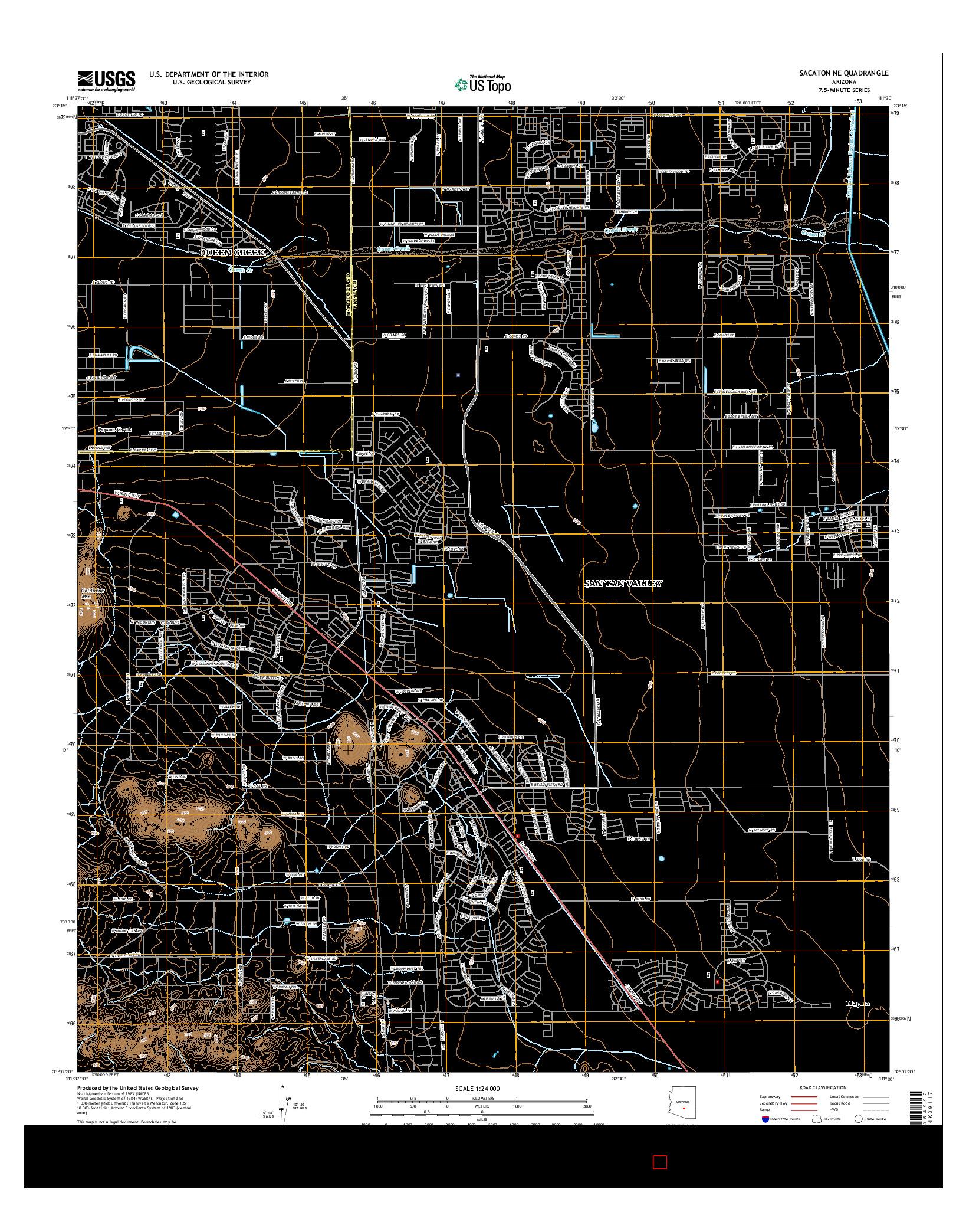 USGS US TOPO 7.5-MINUTE MAP FOR SACATON NE, AZ 2014