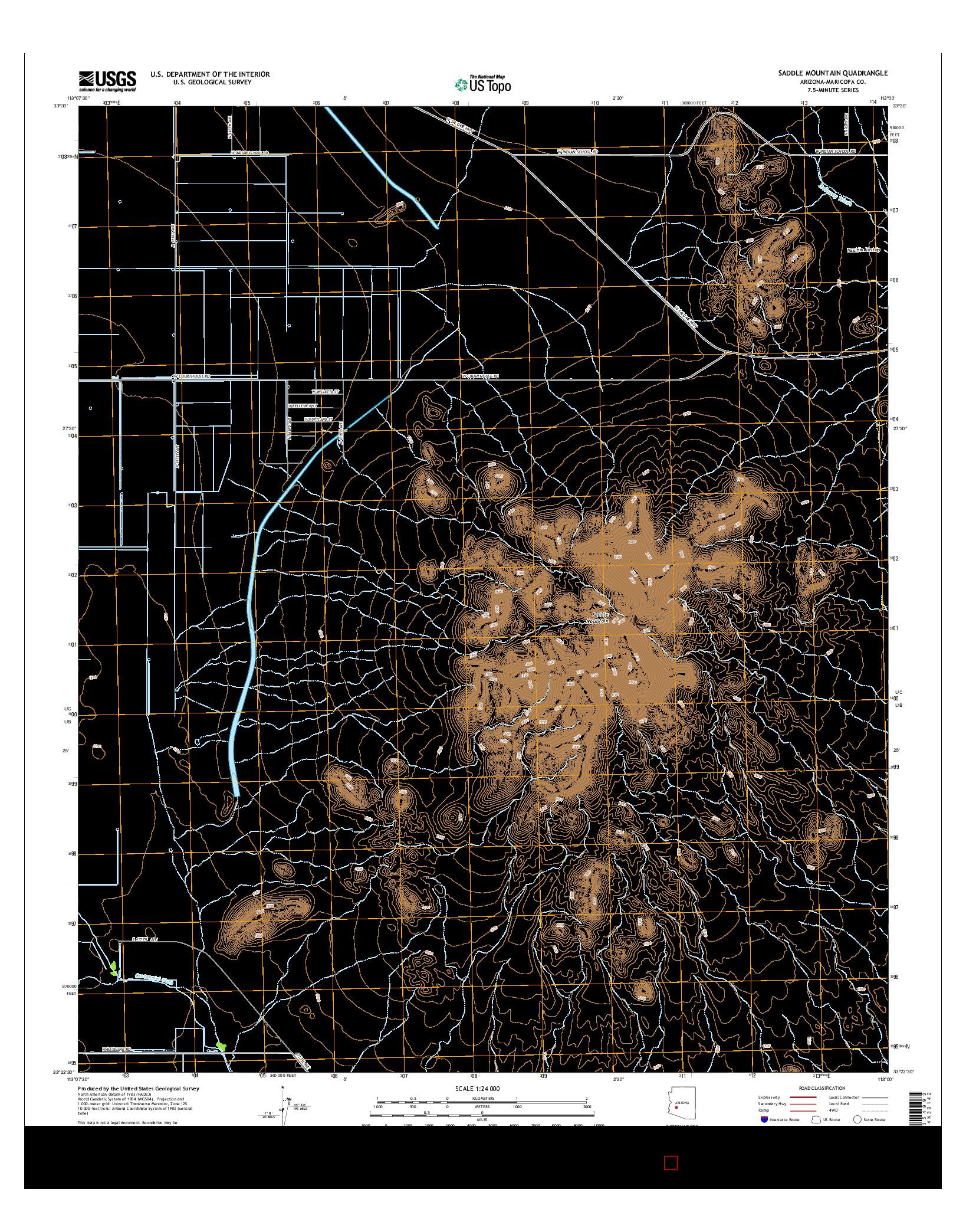 USGS US TOPO 7.5-MINUTE MAP FOR SADDLE MOUNTAIN, AZ 2014