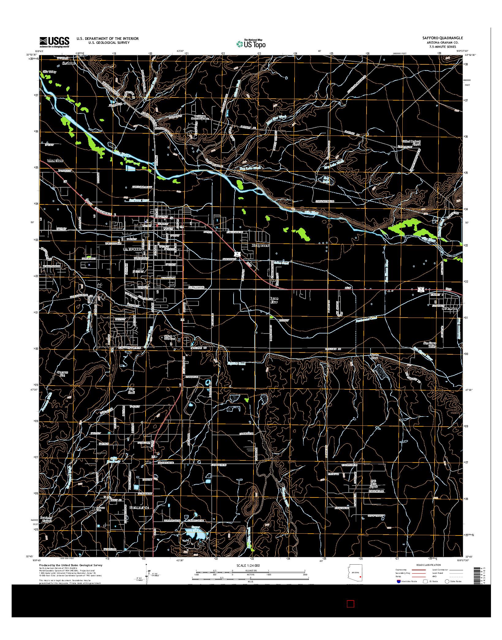 USGS US TOPO 7.5-MINUTE MAP FOR SAFFORD, AZ 2014