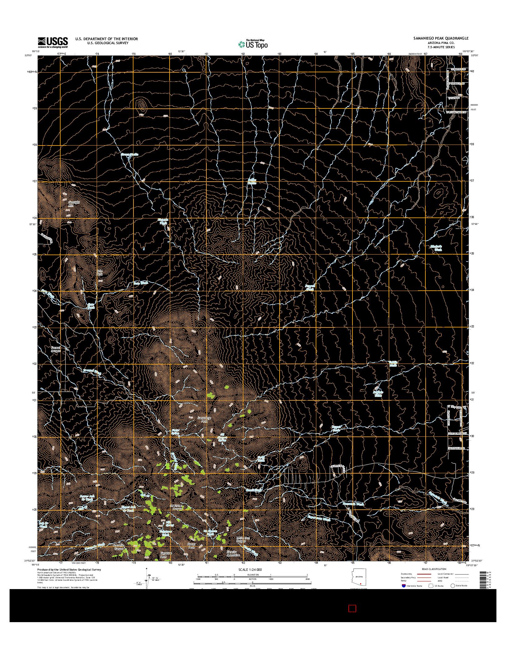 USGS US TOPO 7.5-MINUTE MAP FOR SAMANIEGO PEAK, AZ 2014
