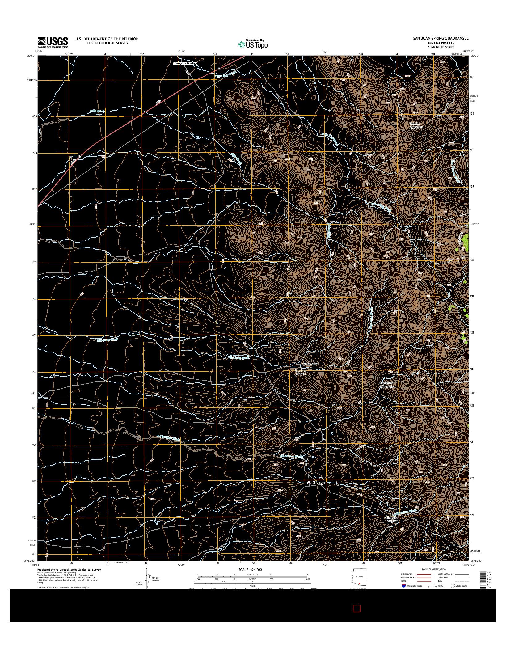 USGS US TOPO 7.5-MINUTE MAP FOR SAN JUAN SPRING, AZ 2014