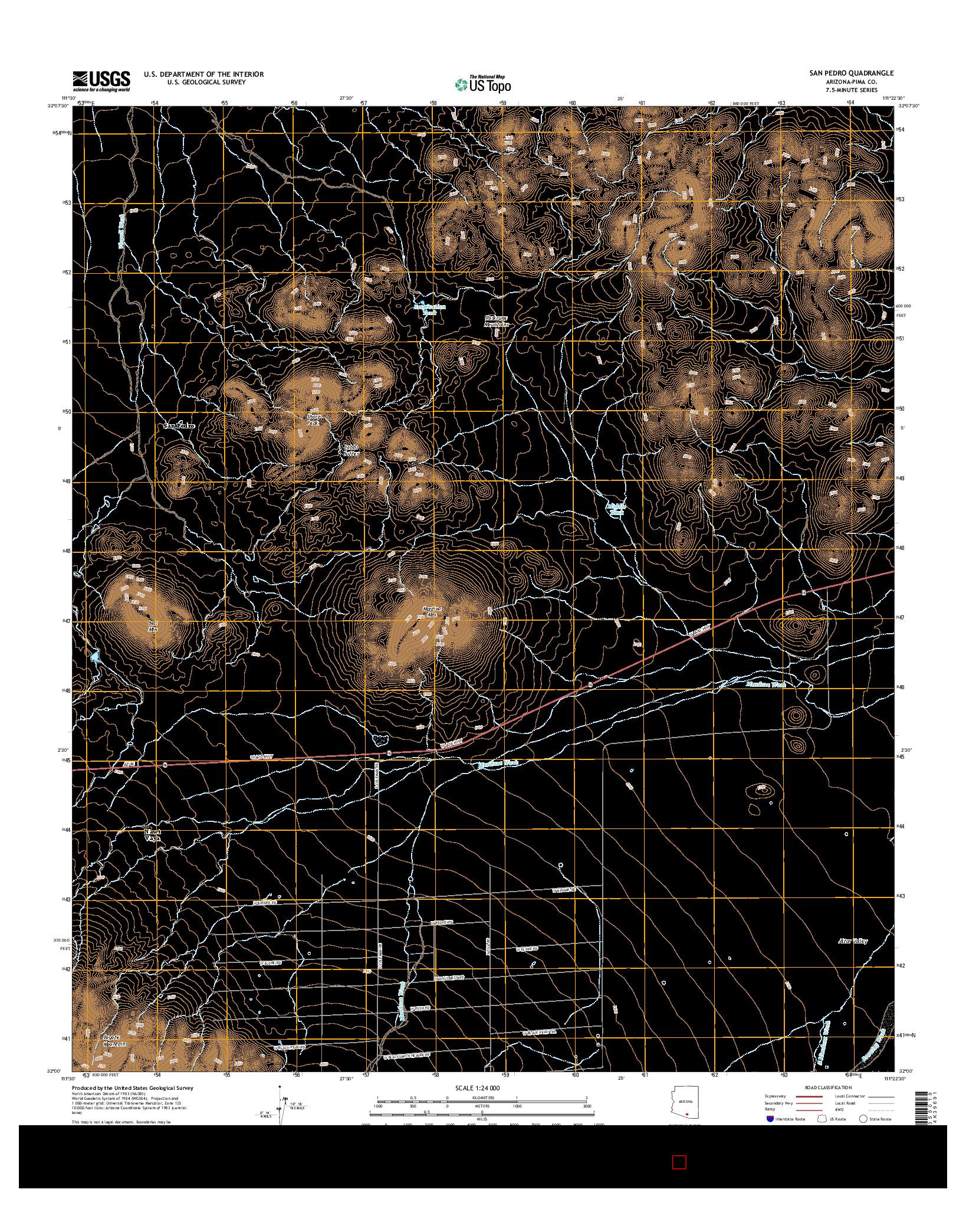 USGS US TOPO 7.5-MINUTE MAP FOR SAN PEDRO, AZ 2014