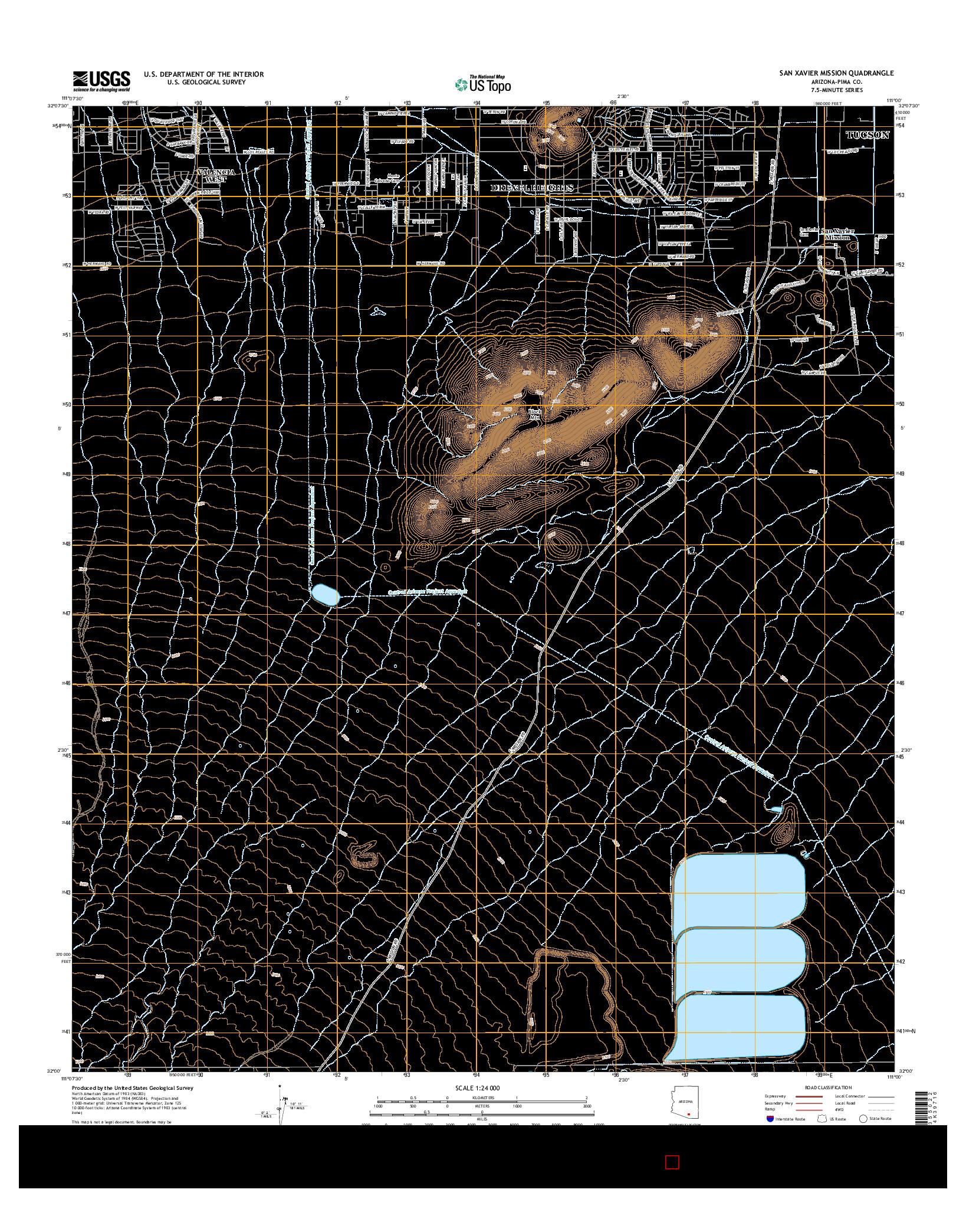 USGS US TOPO 7.5-MINUTE MAP FOR SAN XAVIER MISSION, AZ 2014