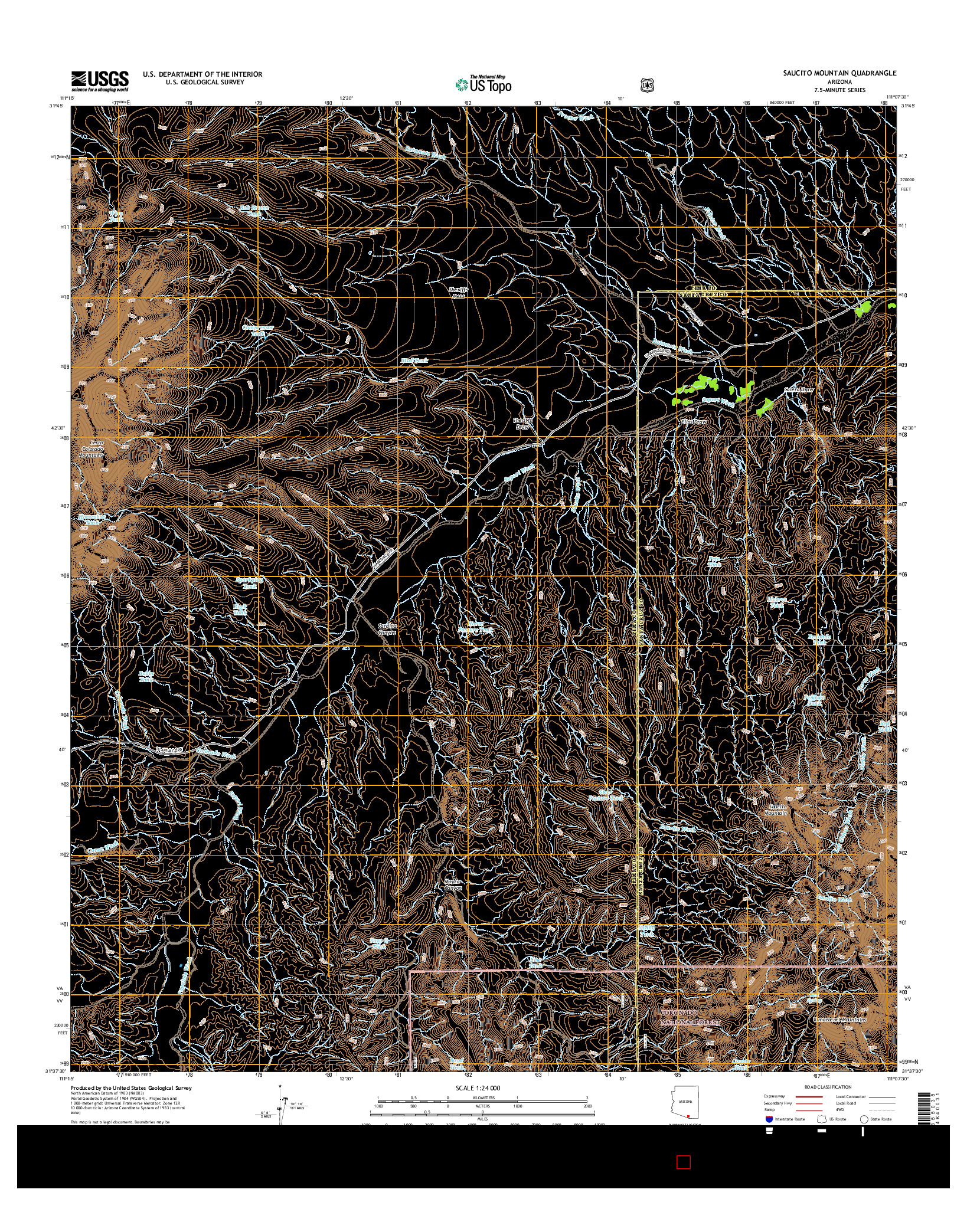 USGS US TOPO 7.5-MINUTE MAP FOR SAUCITO MOUNTAIN, AZ 2014