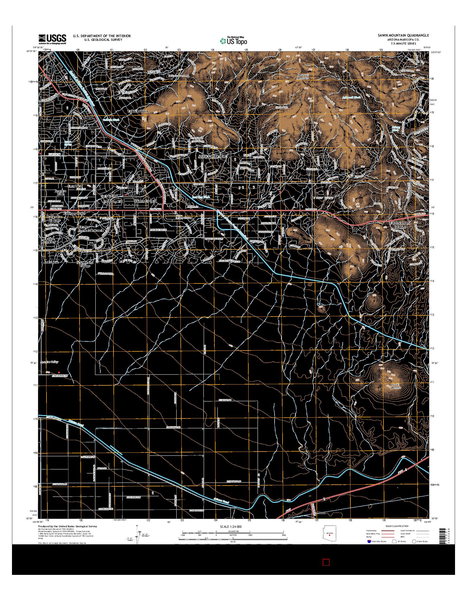 USGS US TOPO 7.5-MINUTE MAP FOR SAWIK MOUNTAIN, AZ 2014