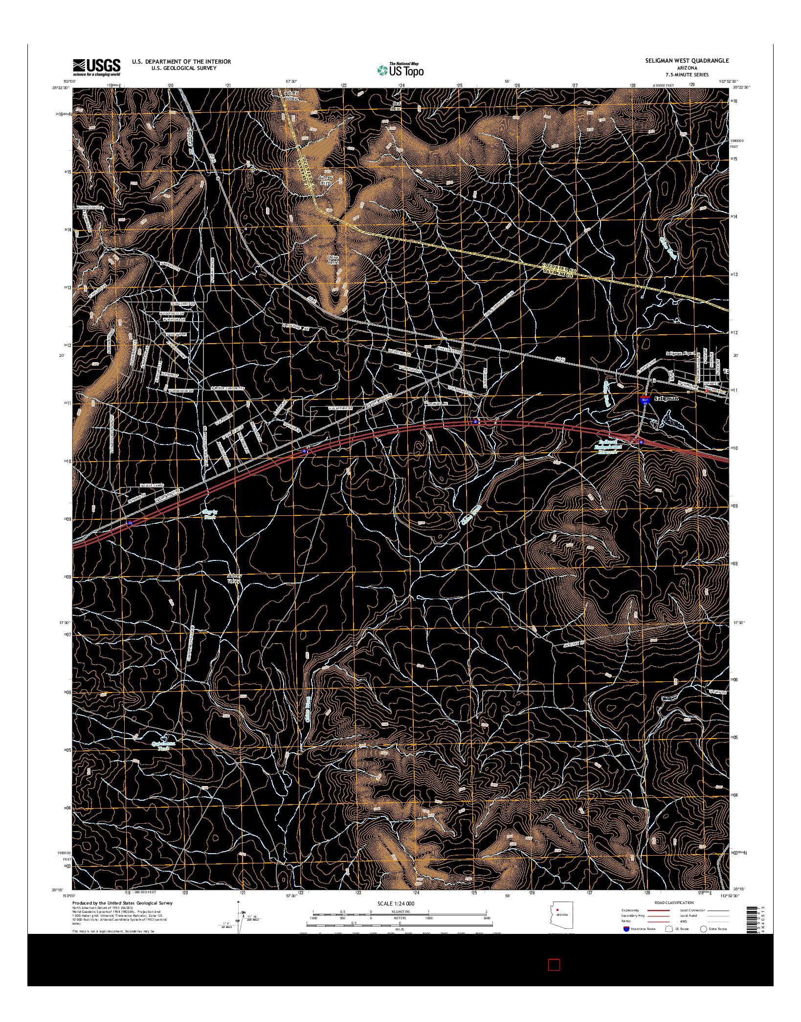 USGS US TOPO 7.5-MINUTE MAP FOR SELIGMAN WEST, AZ 2014