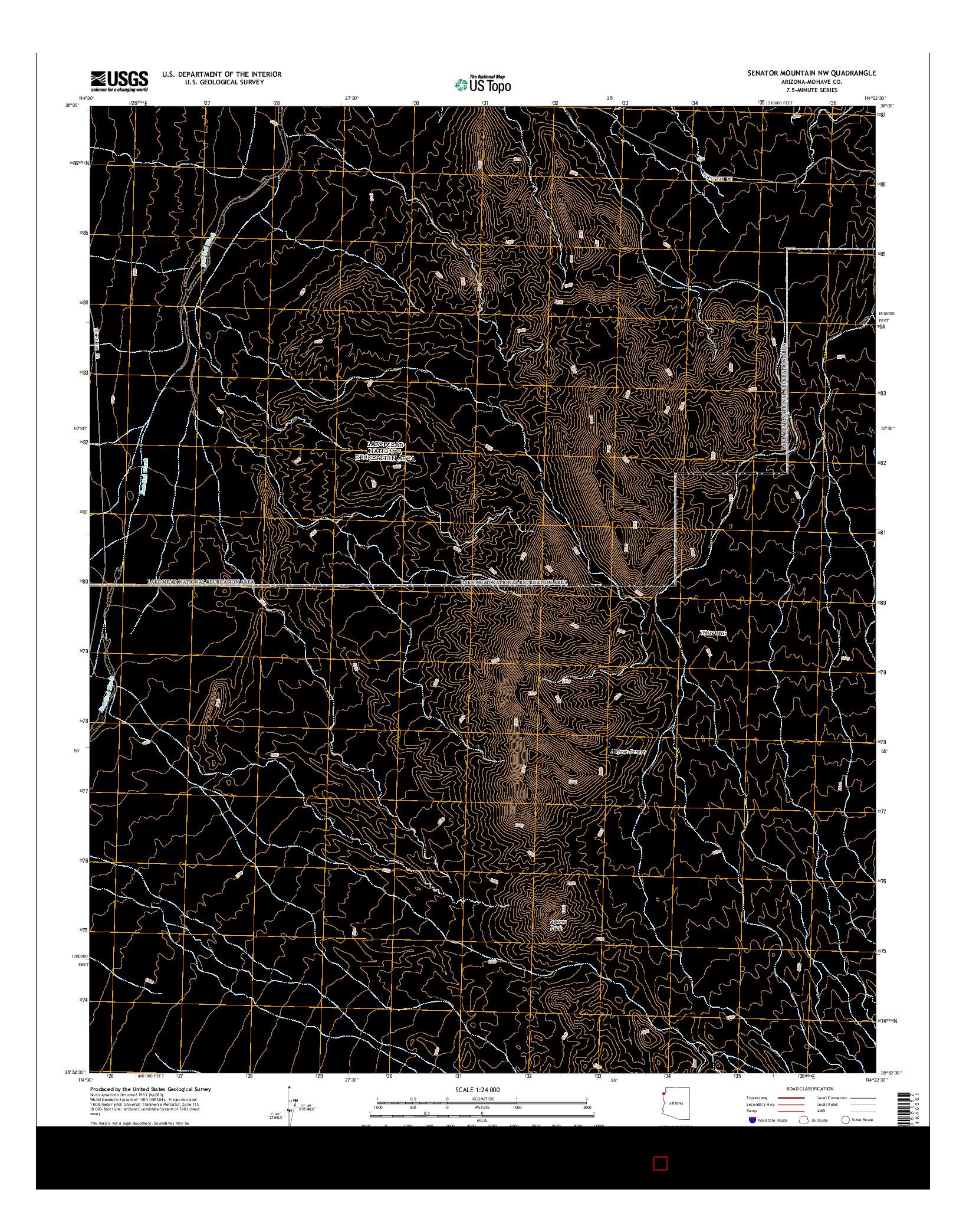 USGS US TOPO 7.5-MINUTE MAP FOR SENATOR MOUNTAIN NW, AZ 2014