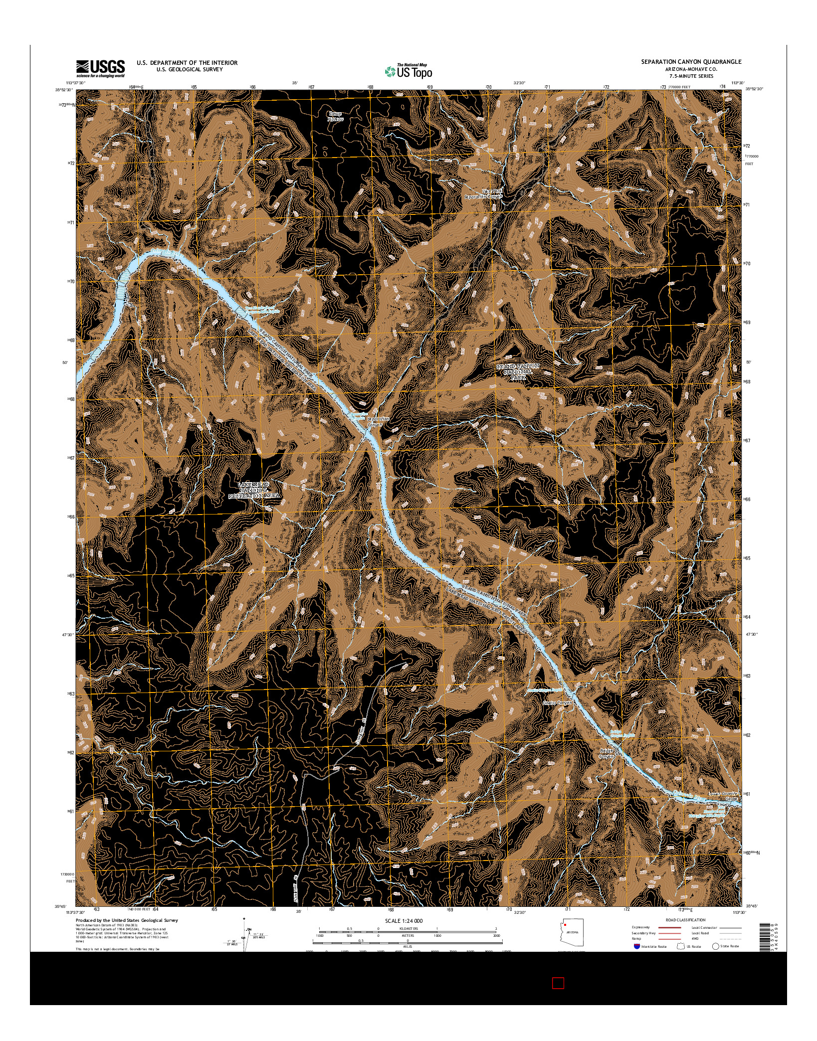 USGS US TOPO 7.5-MINUTE MAP FOR SEPARATION CANYON, AZ 2014
