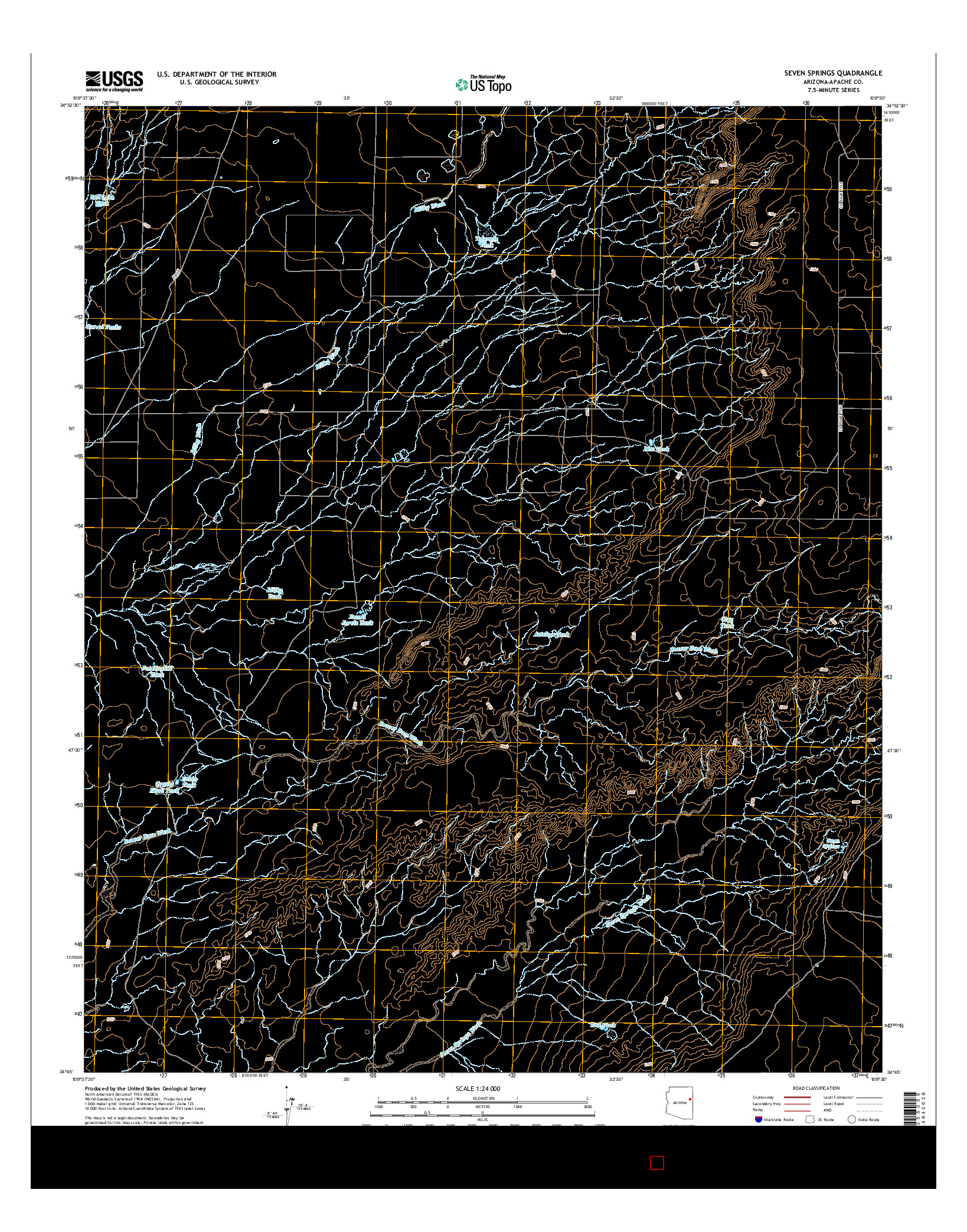 USGS US TOPO 7.5-MINUTE MAP FOR SEVEN SPRINGS, AZ 2014