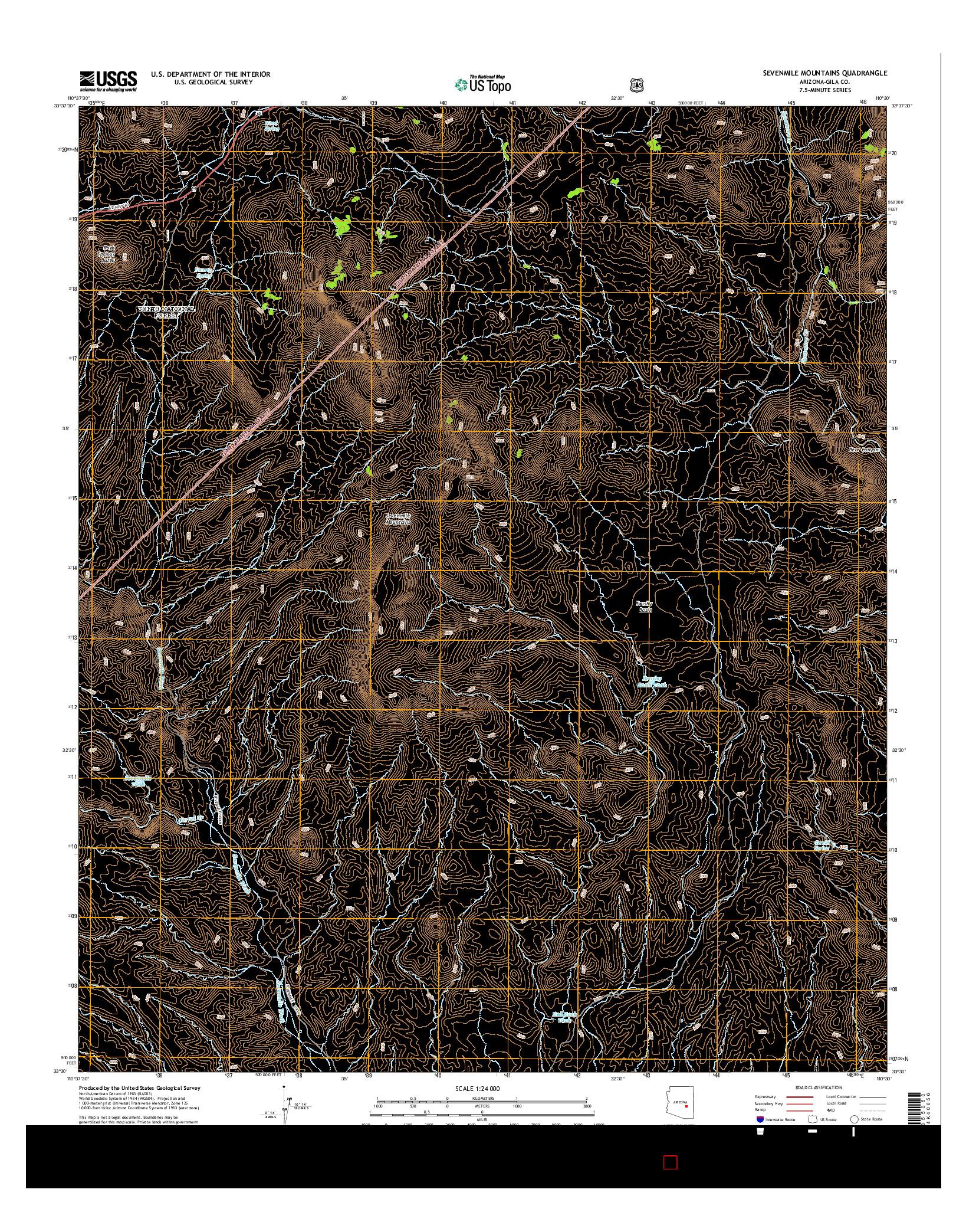 USGS US TOPO 7.5-MINUTE MAP FOR SEVENMILE MOUNTAINS, AZ 2014