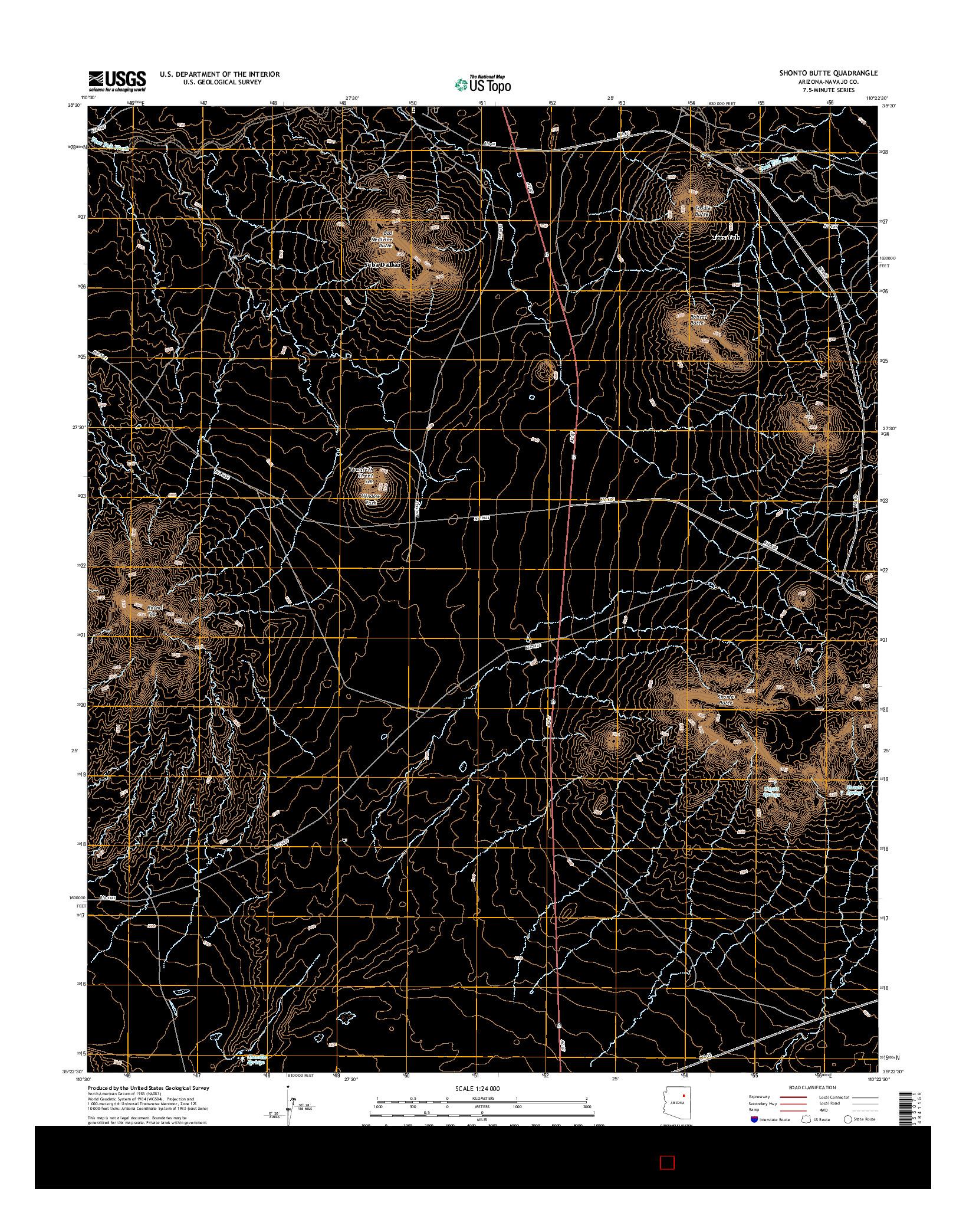USGS US TOPO 7.5-MINUTE MAP FOR SHONTO BUTTE, AZ 2014