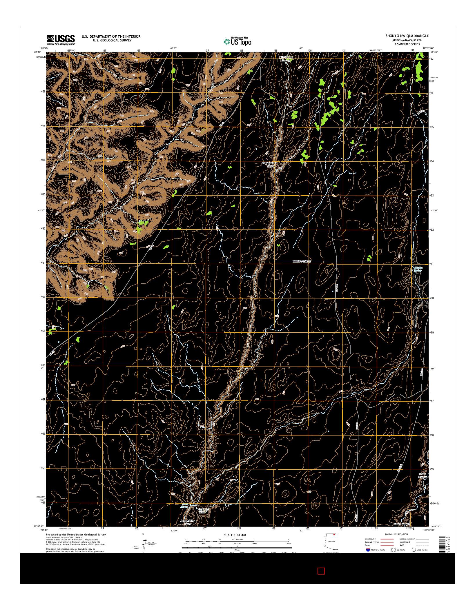 USGS US TOPO 7.5-MINUTE MAP FOR SHONTO NW, AZ 2014